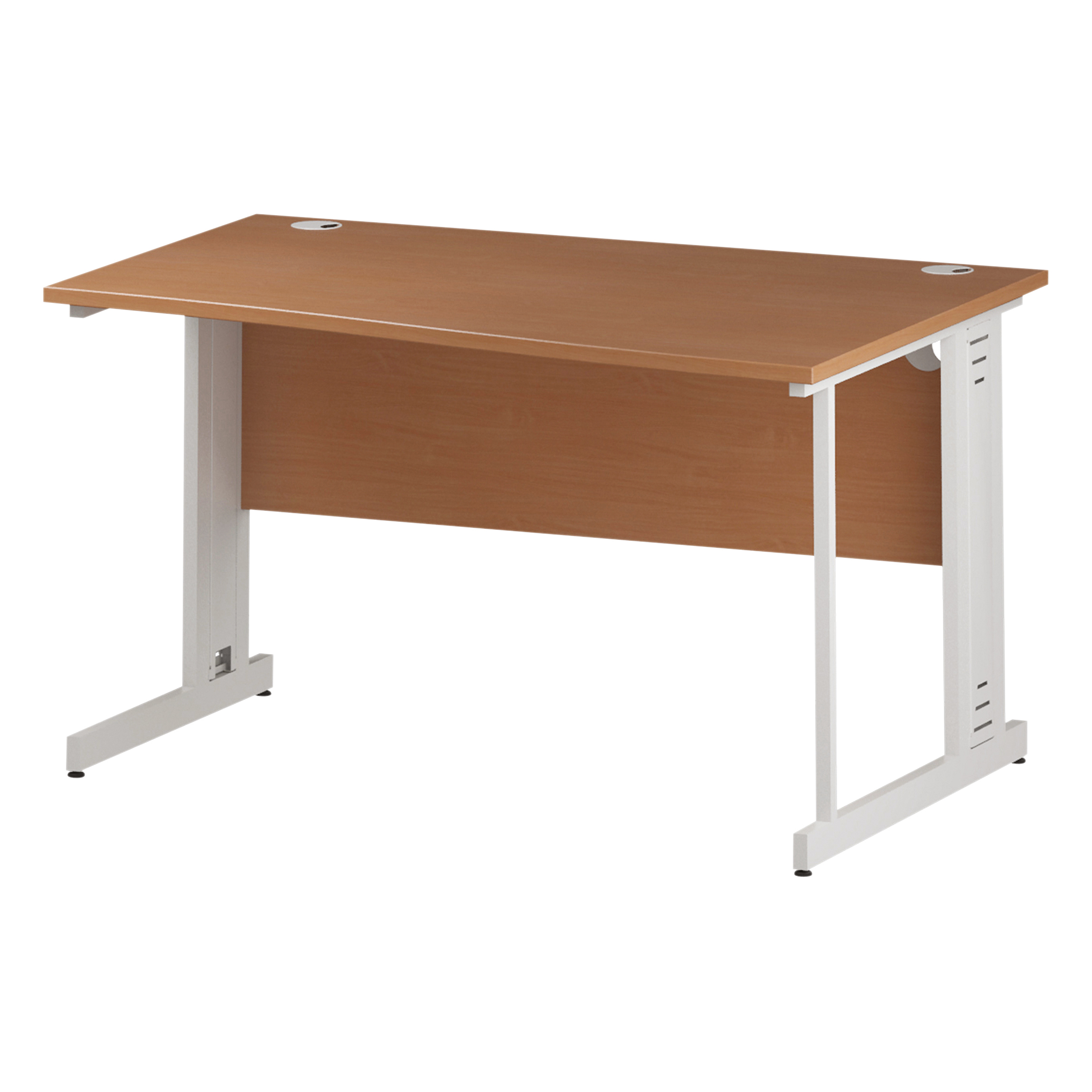 Trexus Wave Desk Right Hand White Cable Managed Leg 1400mm Beech Ref I001829