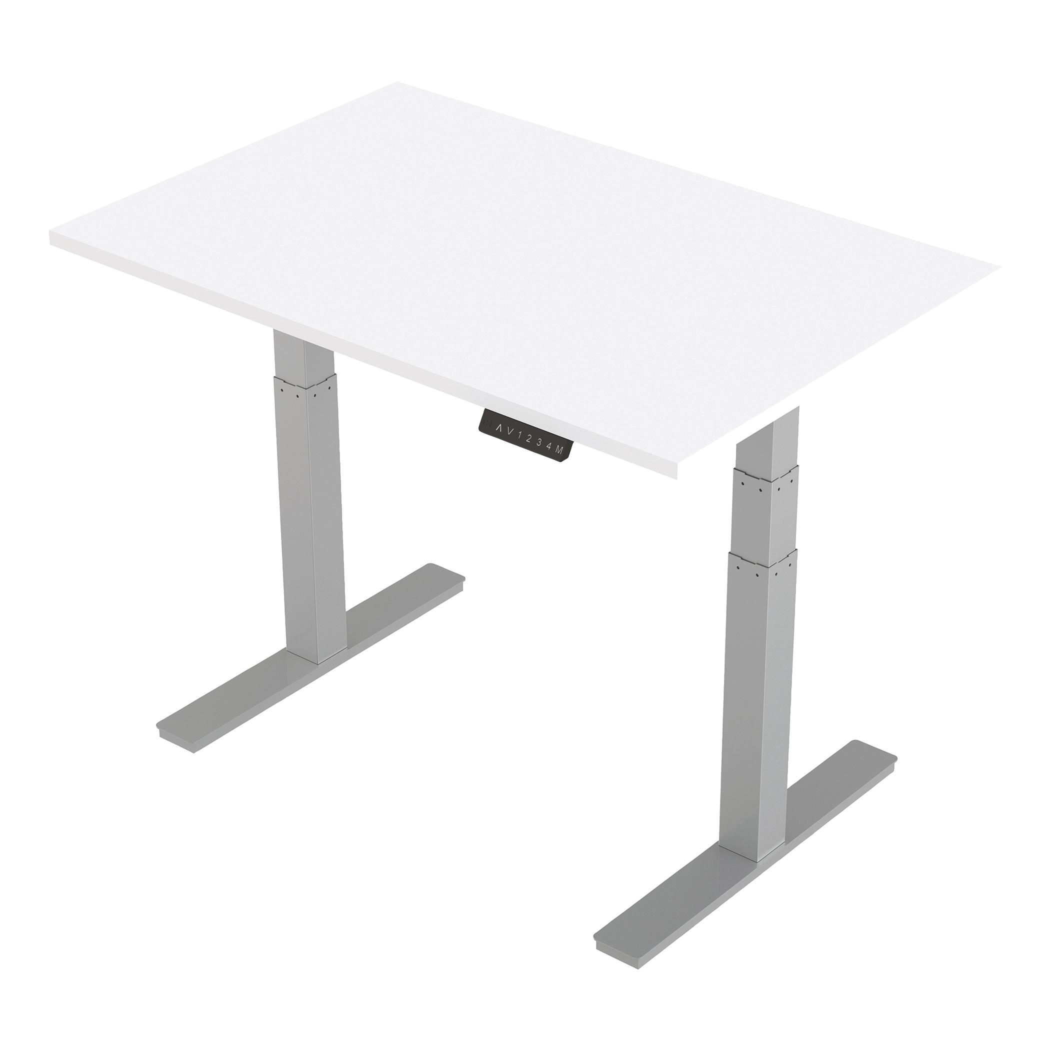 Trexus Sit-Stand Desk Height-adjustable Silver Leg Frame 1200/800mm White Ref HA01009