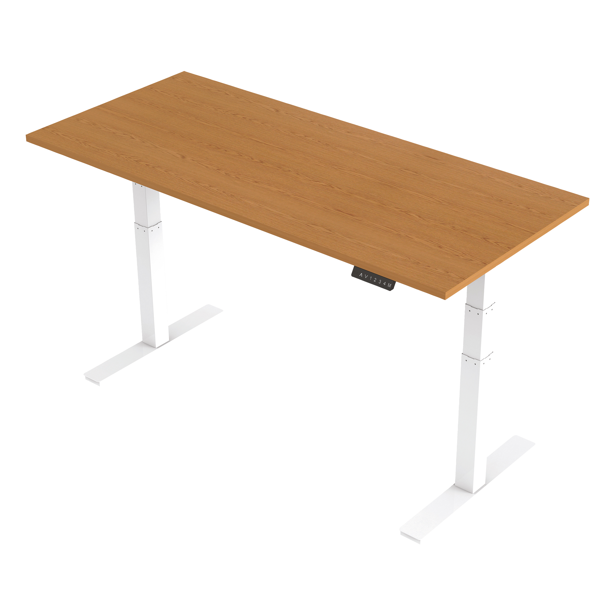Trexus Sit Stand Desk Height-adjustable White Leg Frame 1800/800mm Oak Ref HA01040