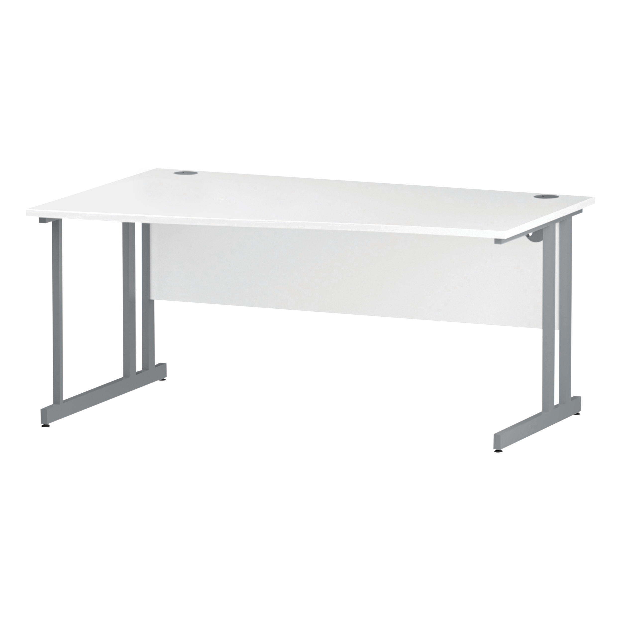 Trexus Wave Desk Left Hand Silver Cantilever Leg 1600mm White Ref I000311