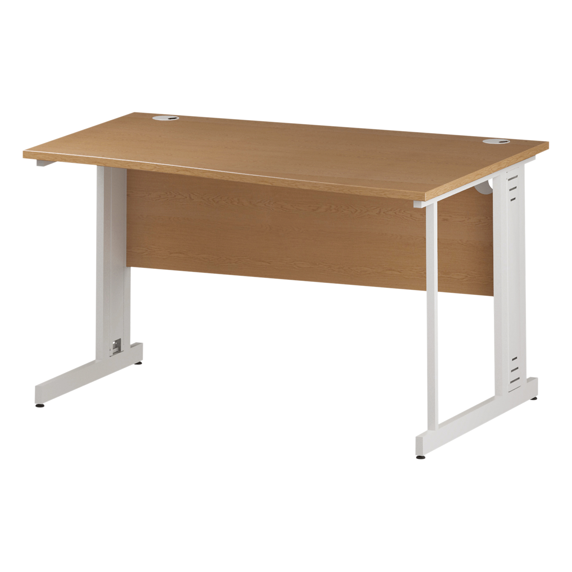 Trexus Wave Desk Right Hand White Cable Managed Leg 1400mm Oak Ref I002798