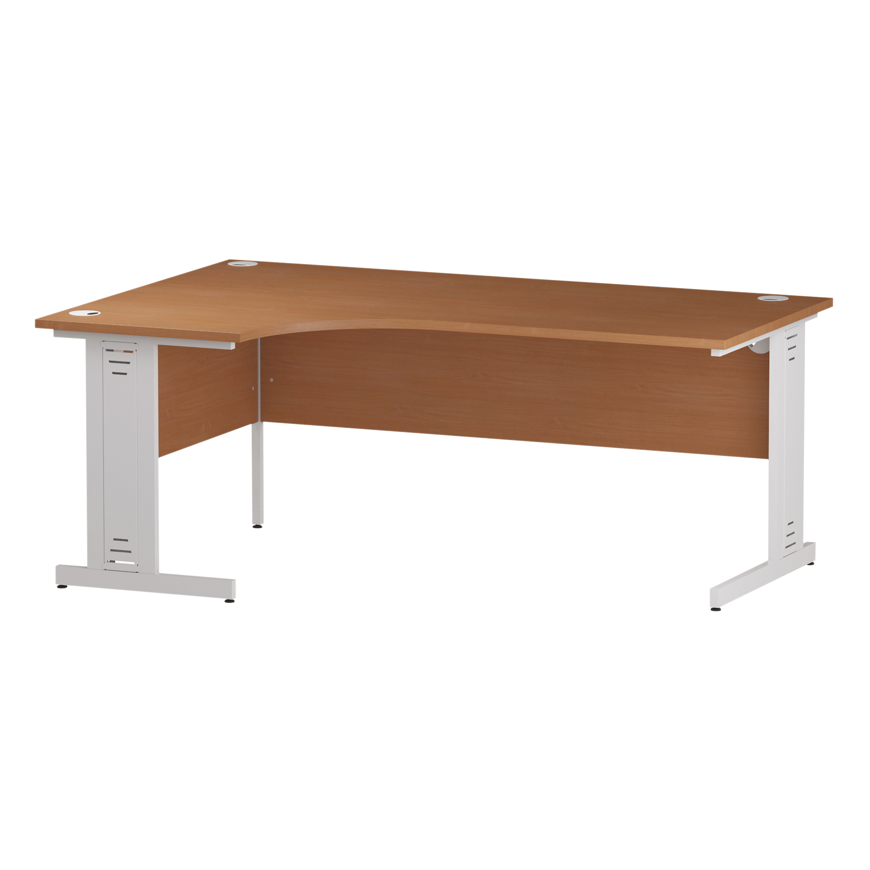 Trexus Radial Desk Left Hand White Cable Managed Leg 1600/1200mm Beech Ref I001879