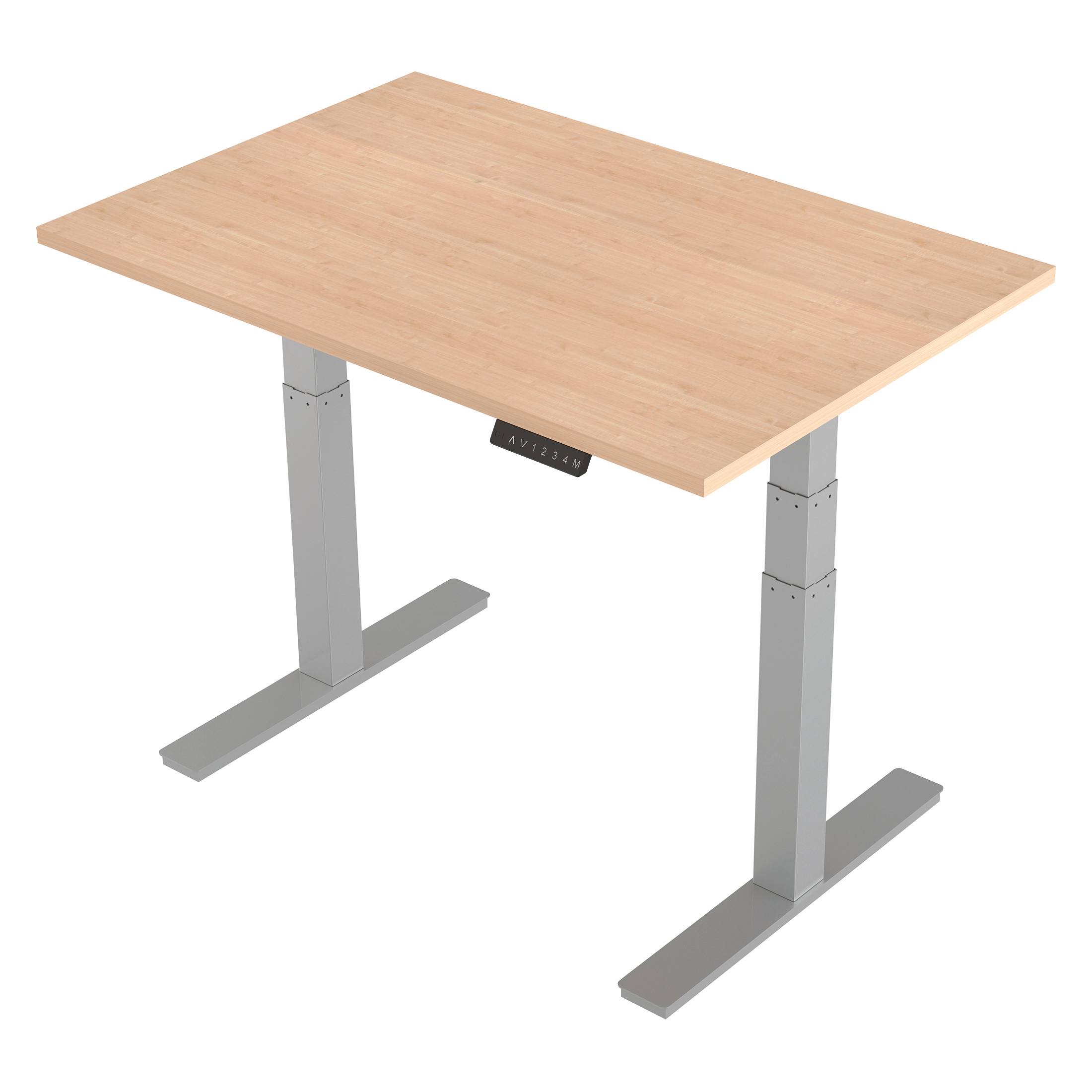 Trexus Sit-Stand Desk Height-adjustable Silver Leg Frame 120/8000mm Maple Ref HA01013