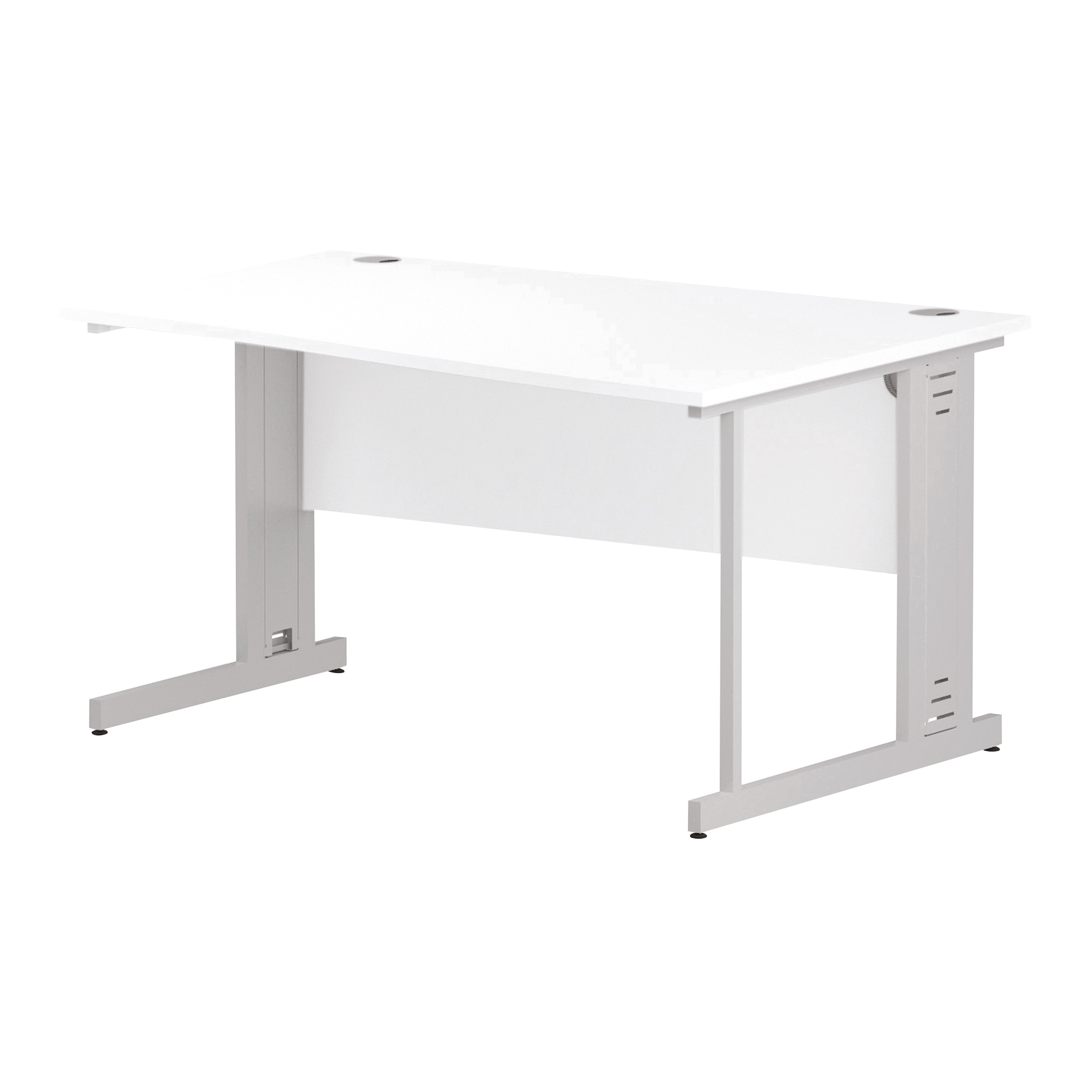Trexus Wave Desk Right Hand White Cable Managed Leg 1400mm White Ref I002346
