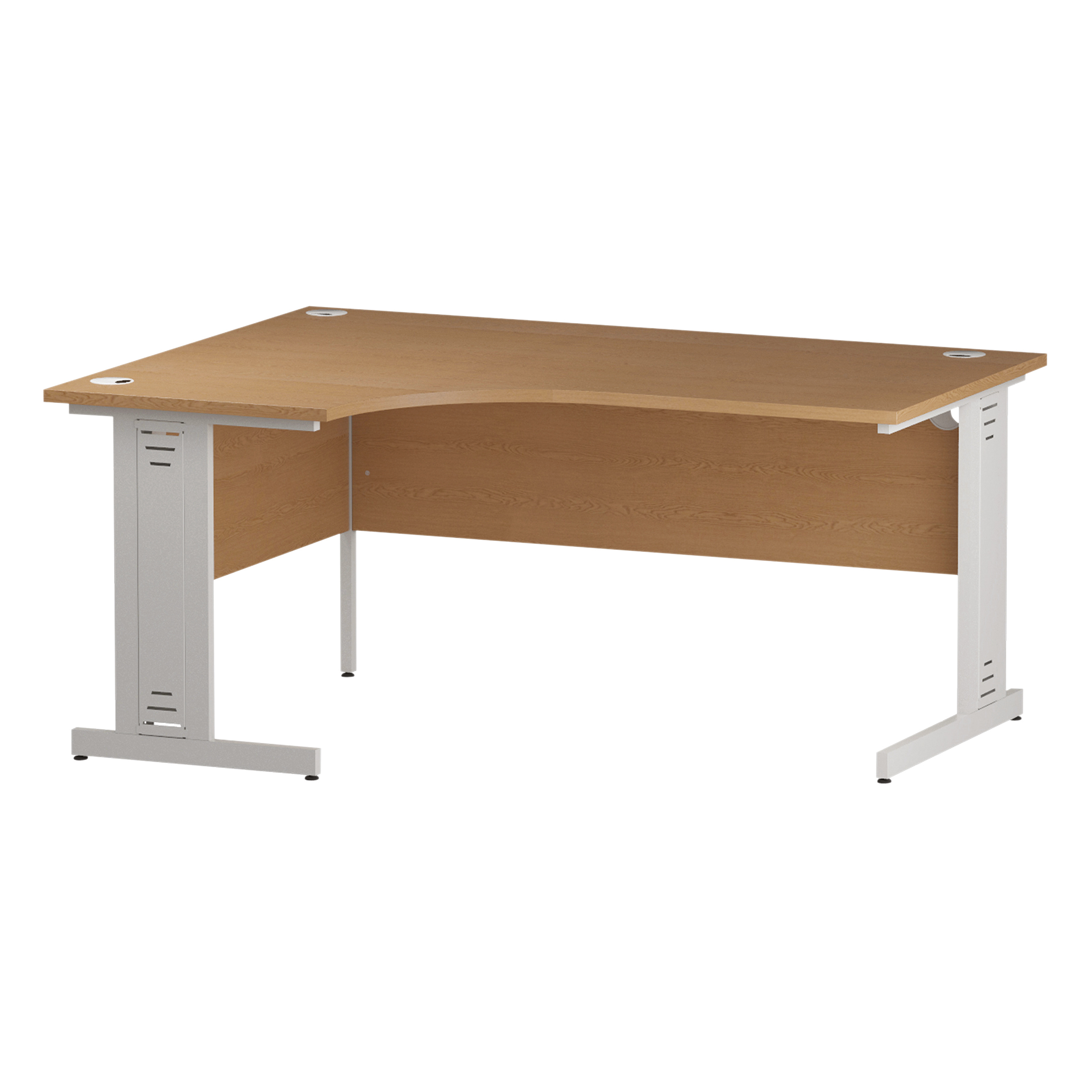 Trexus Radial Desk Left Hand White Cable Managed Leg 1600/1200mm Oak Ref I002848