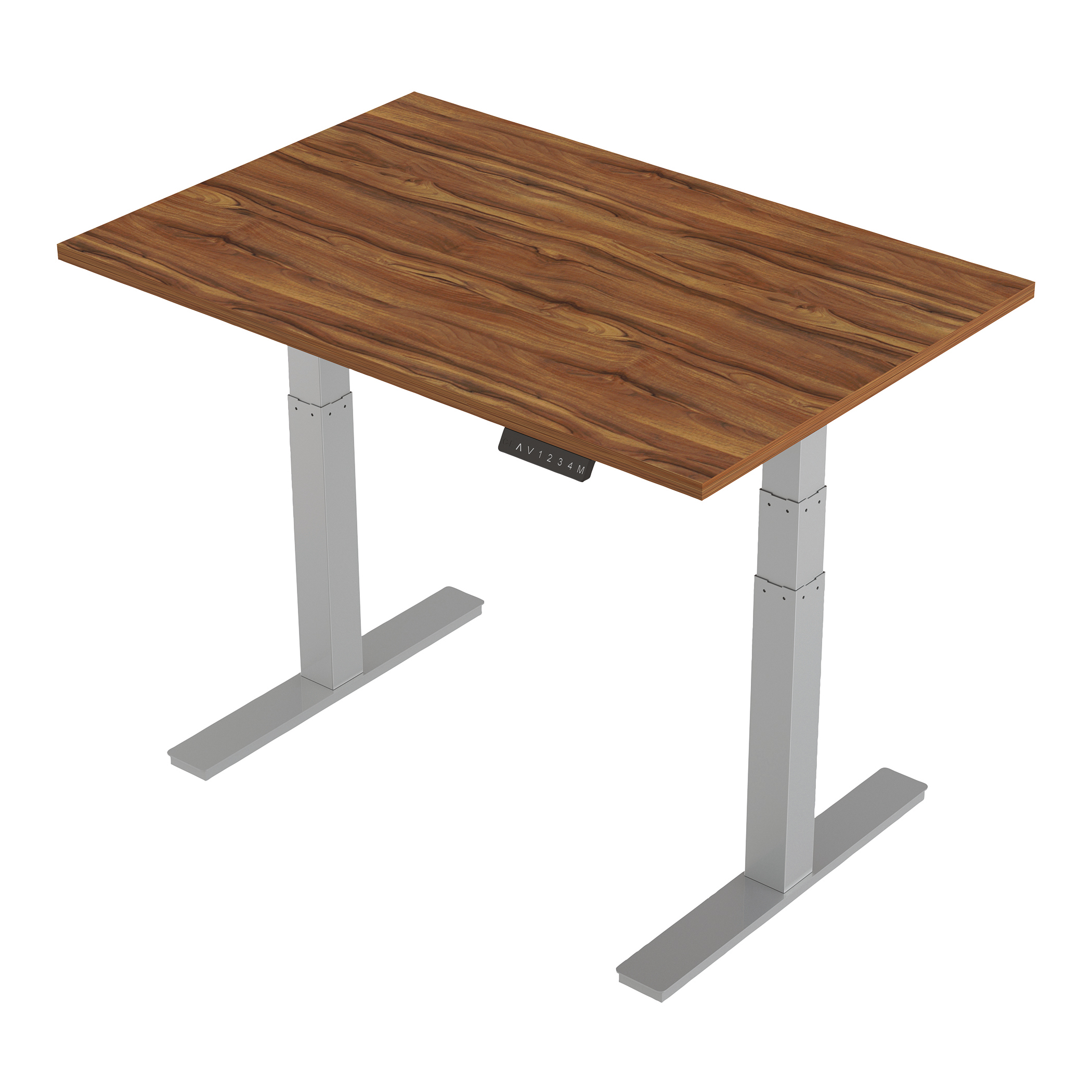 Trexus Sit-Stand Desk Height-adjustable Silver Leg Frame 1200/800mm Walnut Ref HA01005