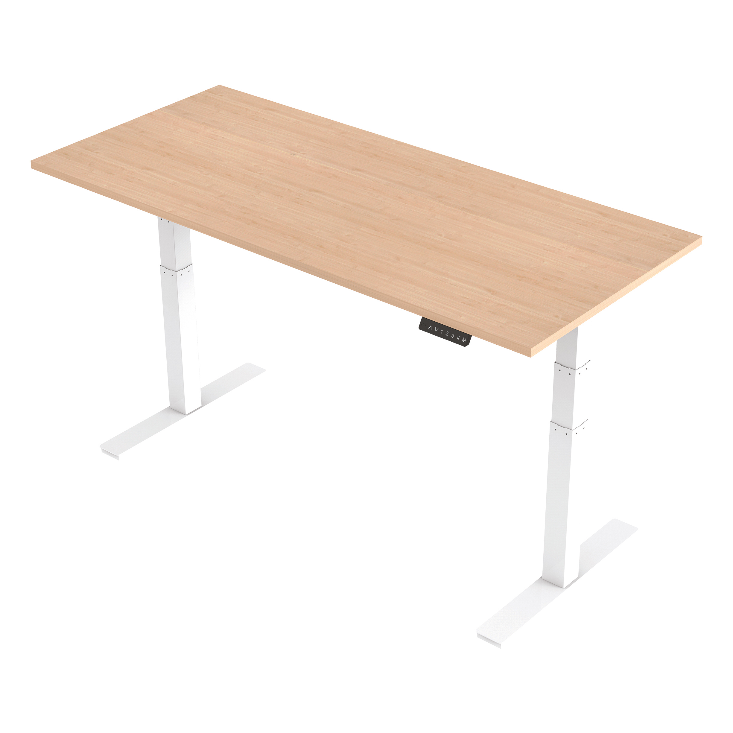 Trexus Sit Stand Desk Height-adjustable White Leg Frame 1800/800mm Maple Ref HA01036