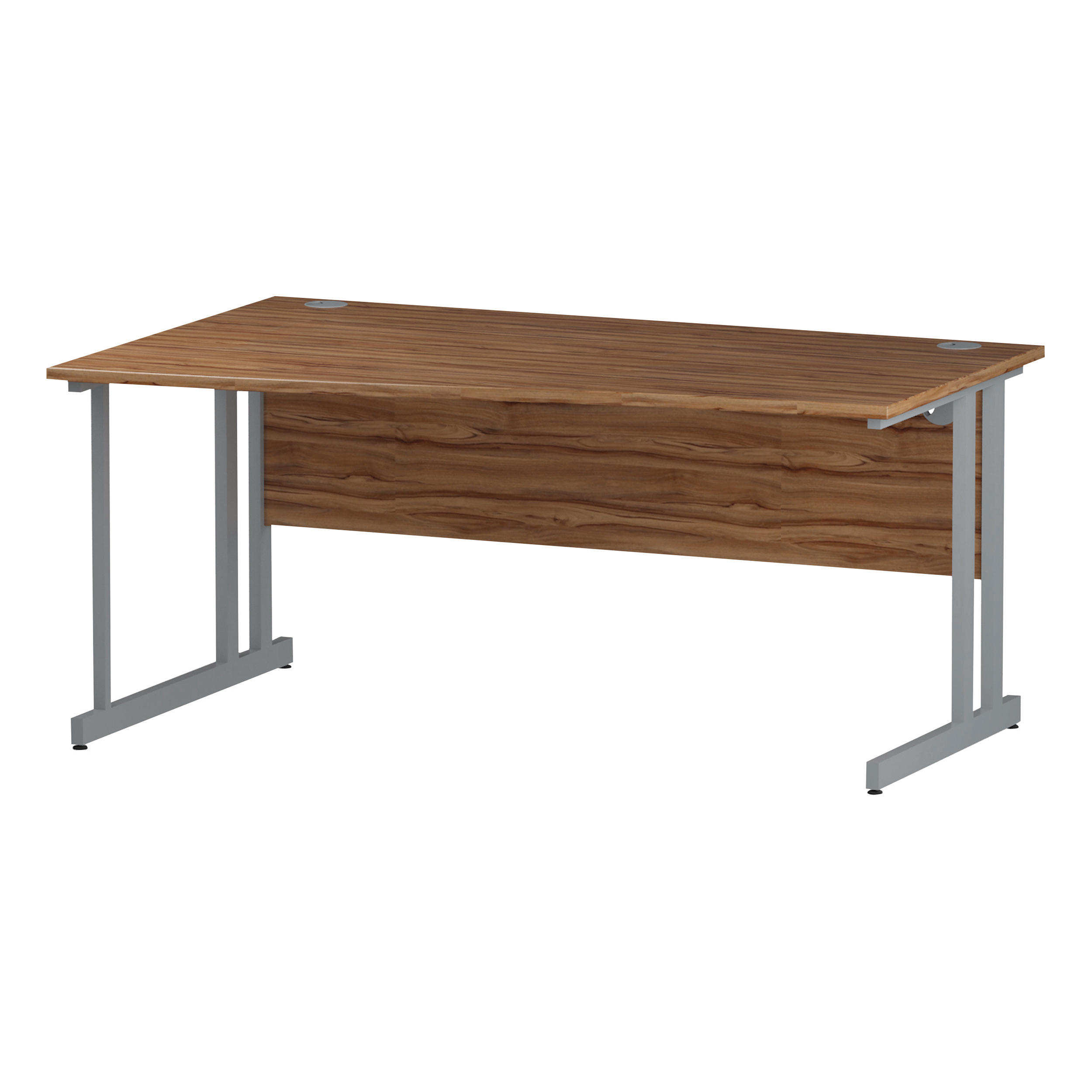 Trexus Wave Desk Left Hand Silver Cantilever Leg 1600mm Walnut Ref I002067