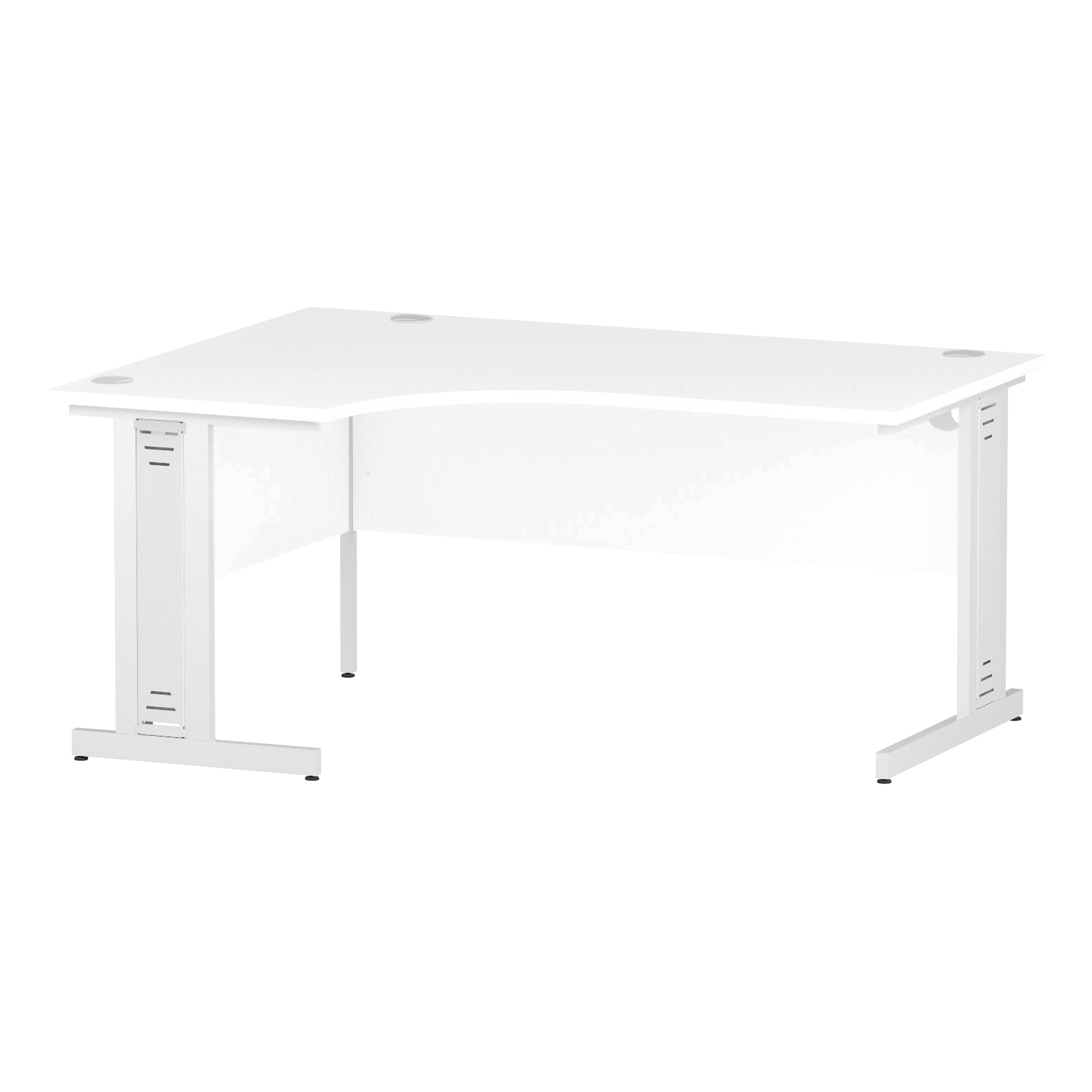 Trexus Radial Desk Left Hand White Cable Managed Leg 1600/1200mm White Ref I002396