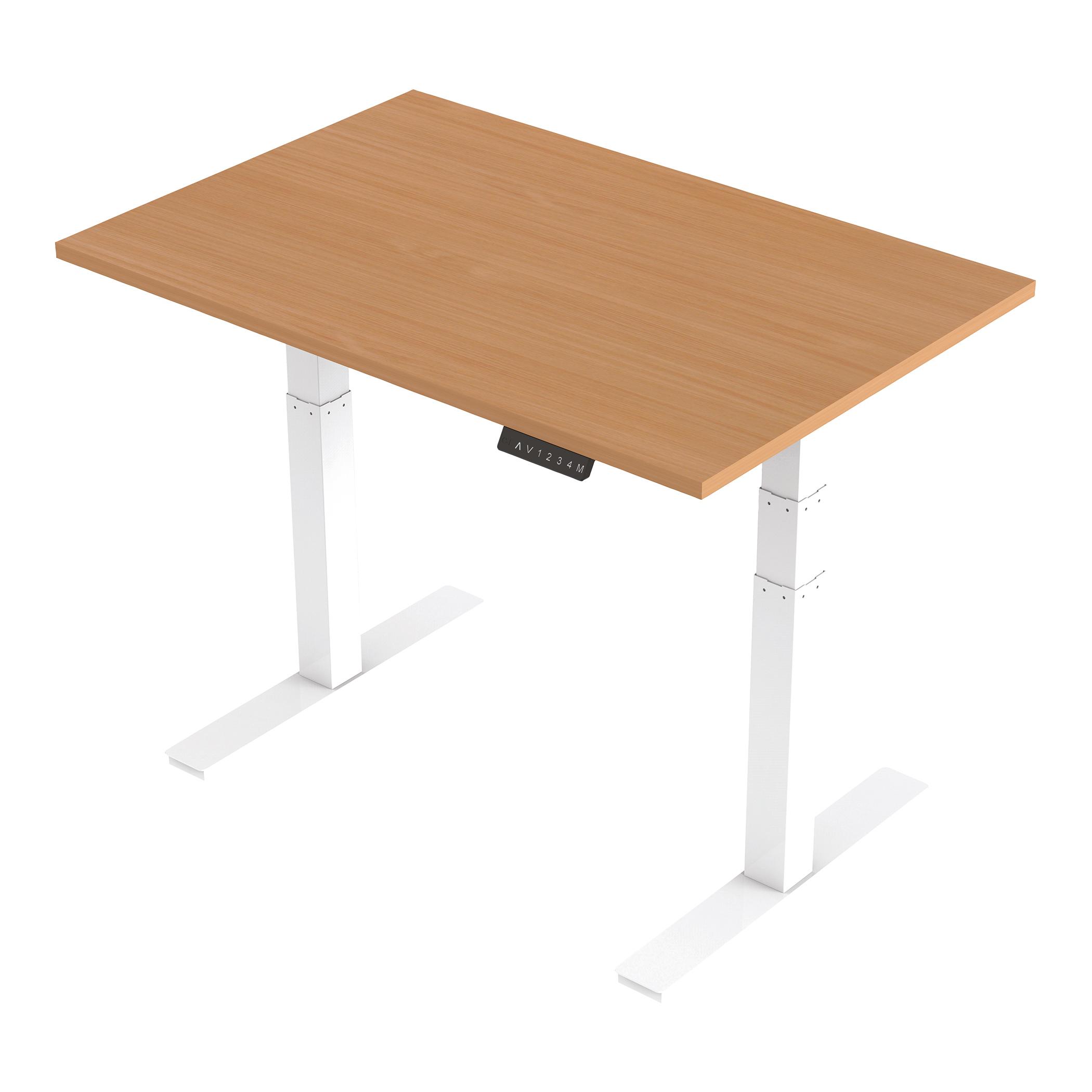 Trexus Sit Stand Desk Height-adjustable White Leg Frame 1200/800mm Beech Ref HA01021