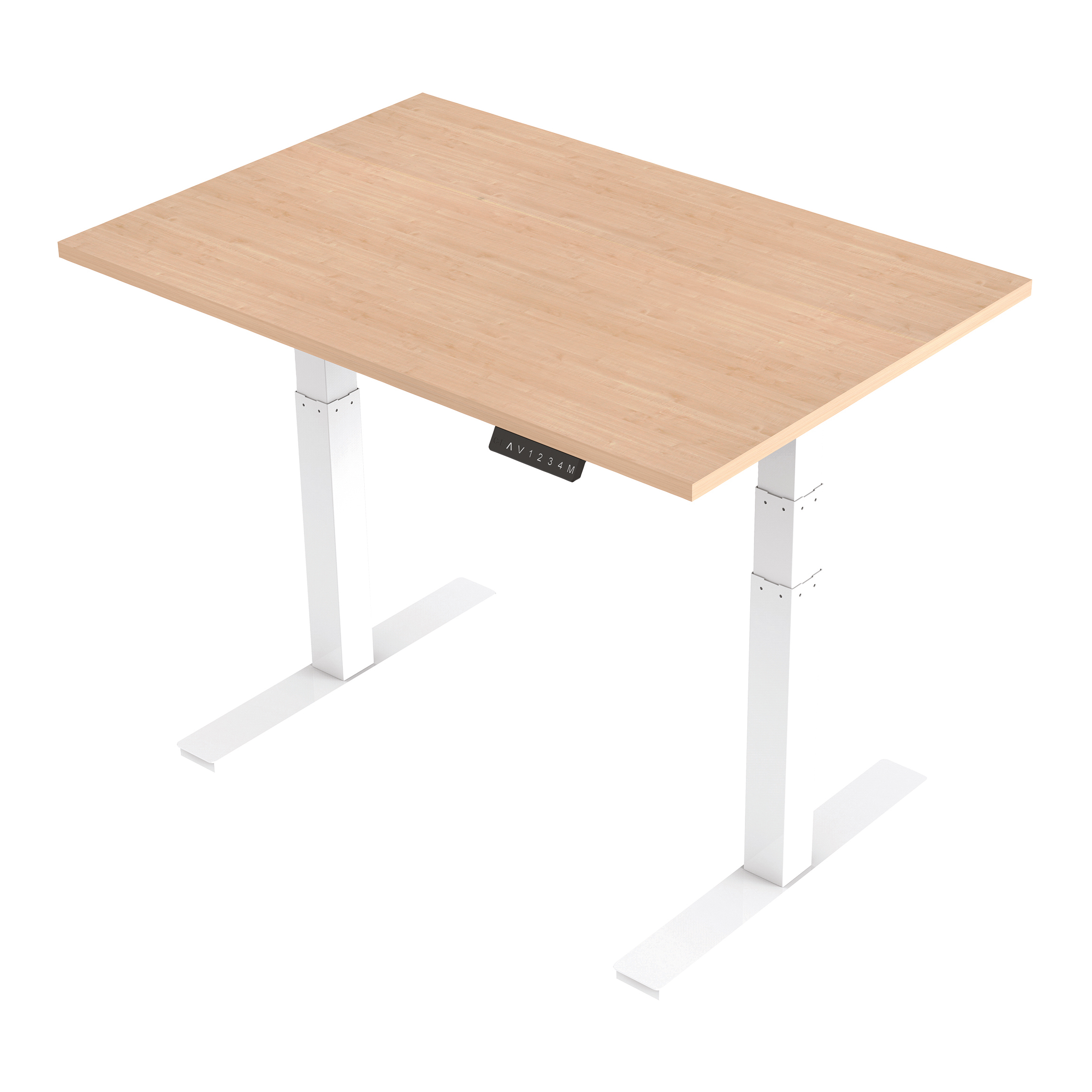Trexus Sit Stand Desk Height-adjustable White Leg Frame 1200/800mm Maple Ref HA01033
