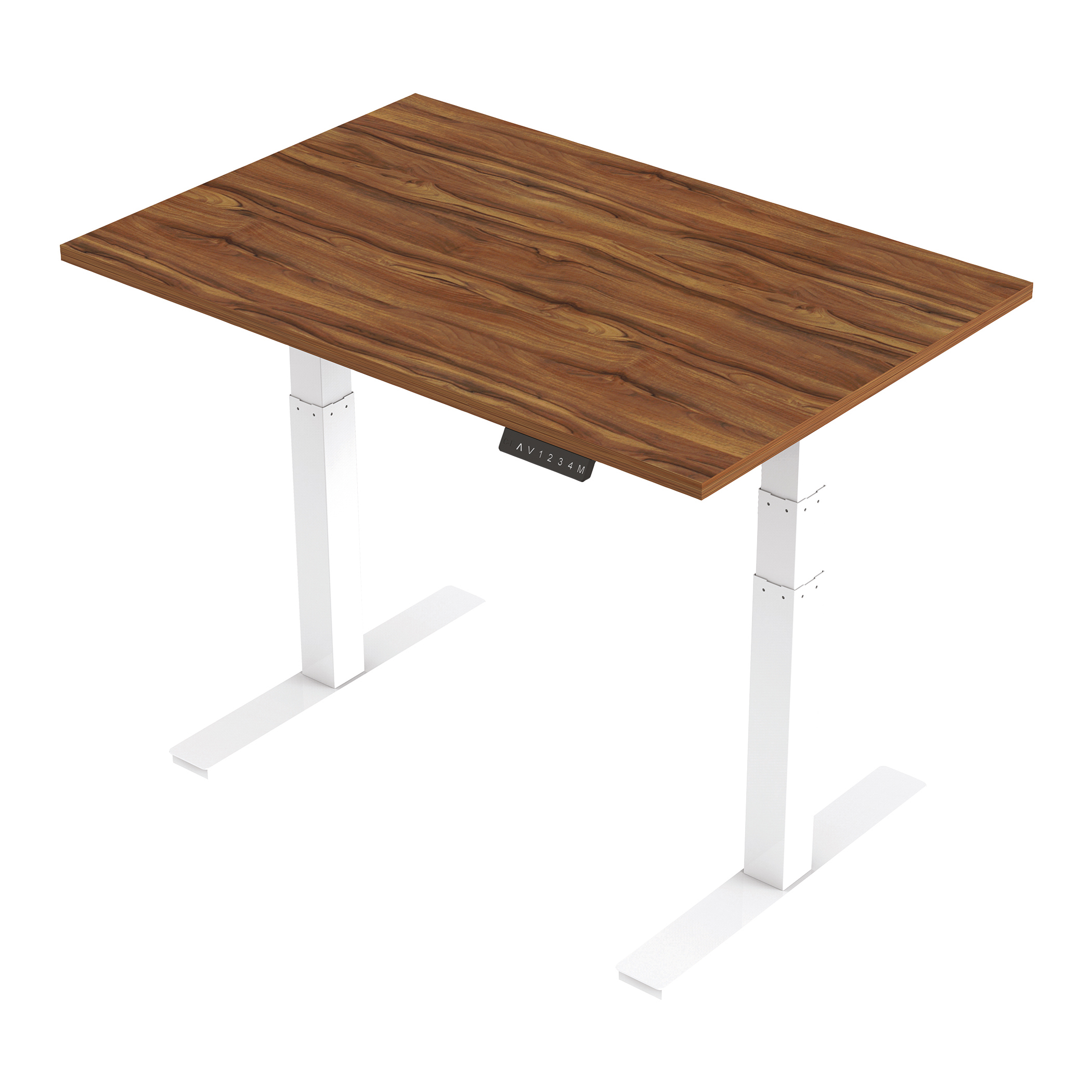 Trexus Sit Stand Desk Height-adjustable White Leg Frame 1200/800mm Walnut Ref HA01025