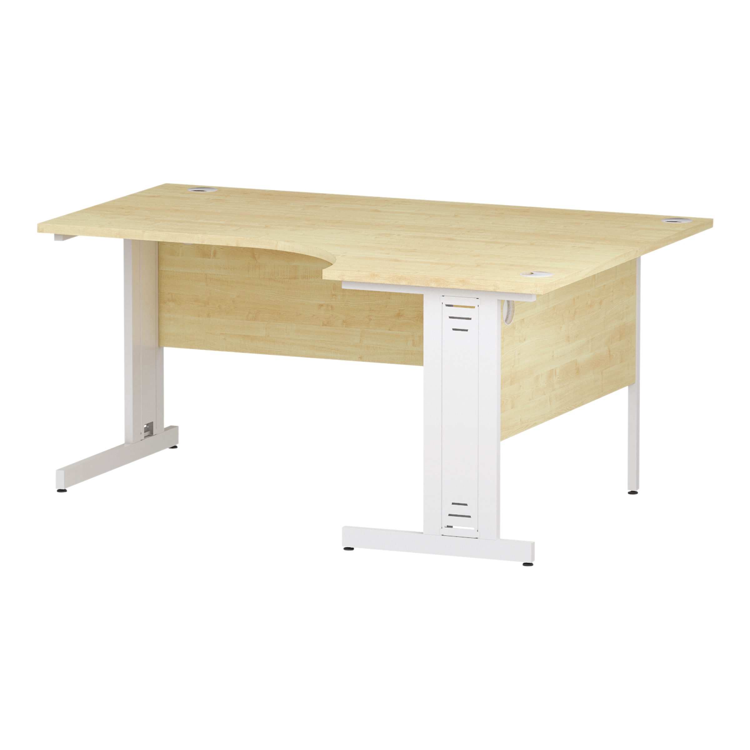 Trexus Radial Desk Left Hand White Cable Managed Leg 1600/1200mm Maple Ref I002623