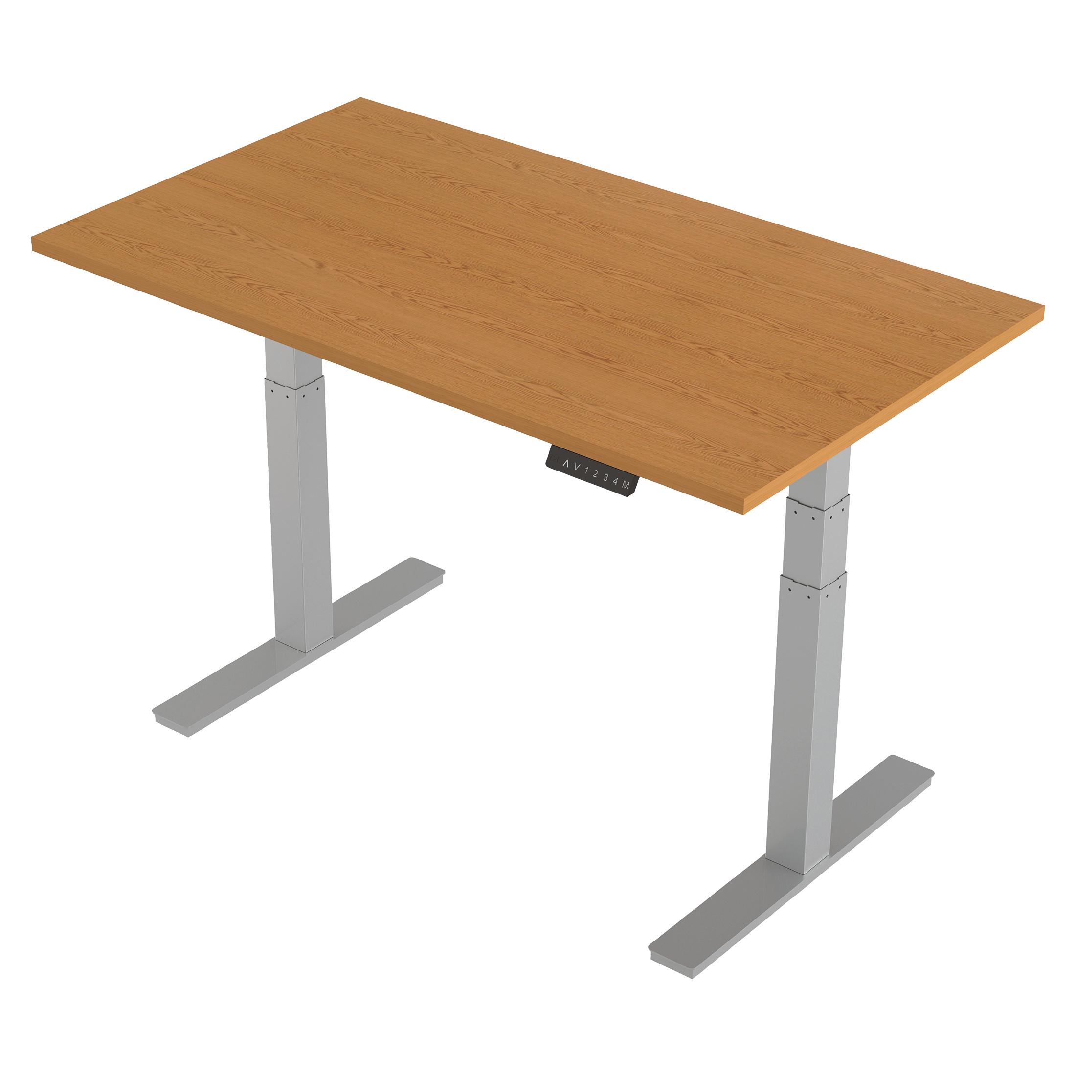 Trexus Sit-Stand Desk Height-adjustable Silver Leg Frame 1400/800mm Oak Ref HA01018