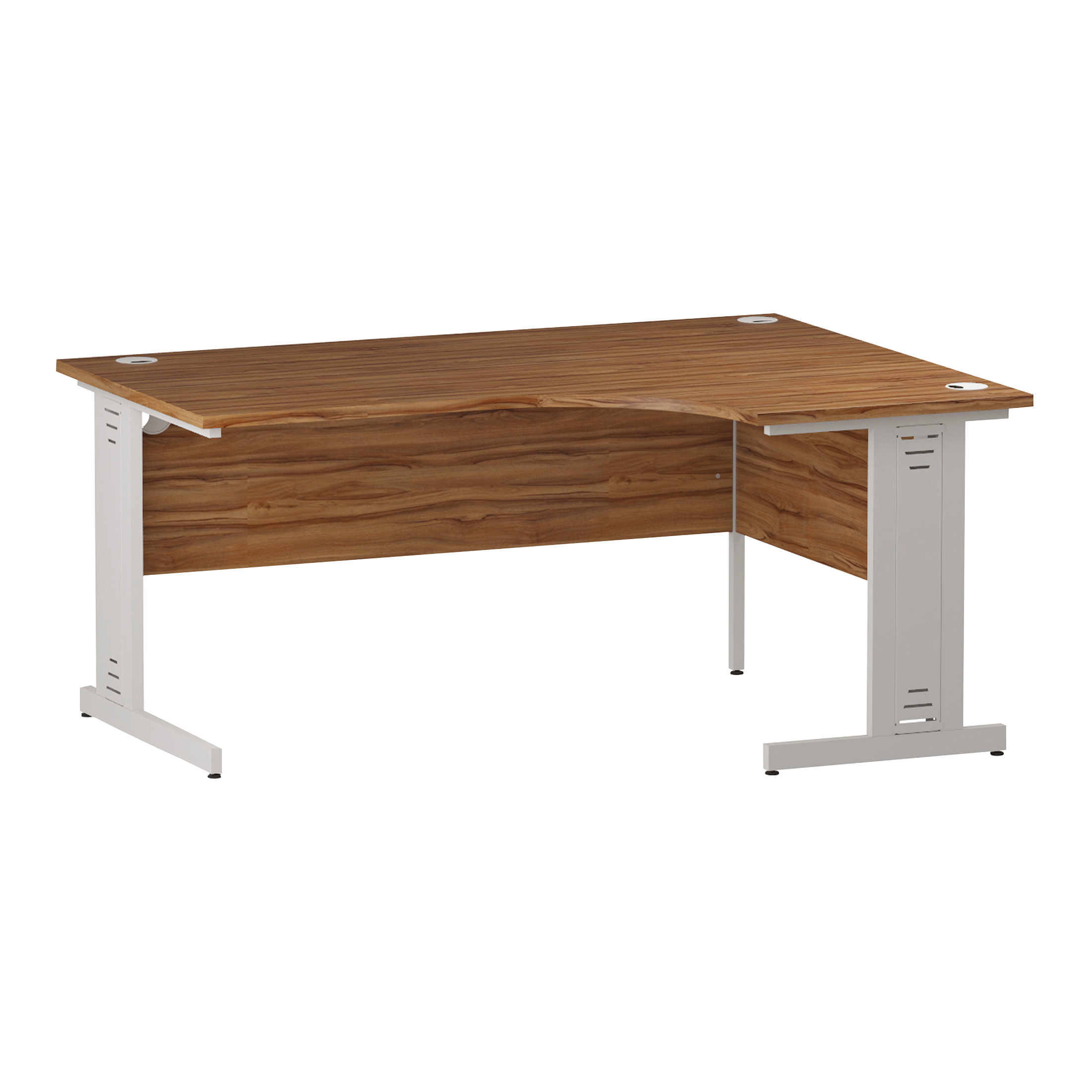 Trexus Radial Desk Right Hand White Cable Managed Leg 1600/1200mm Walnut Ref I002147