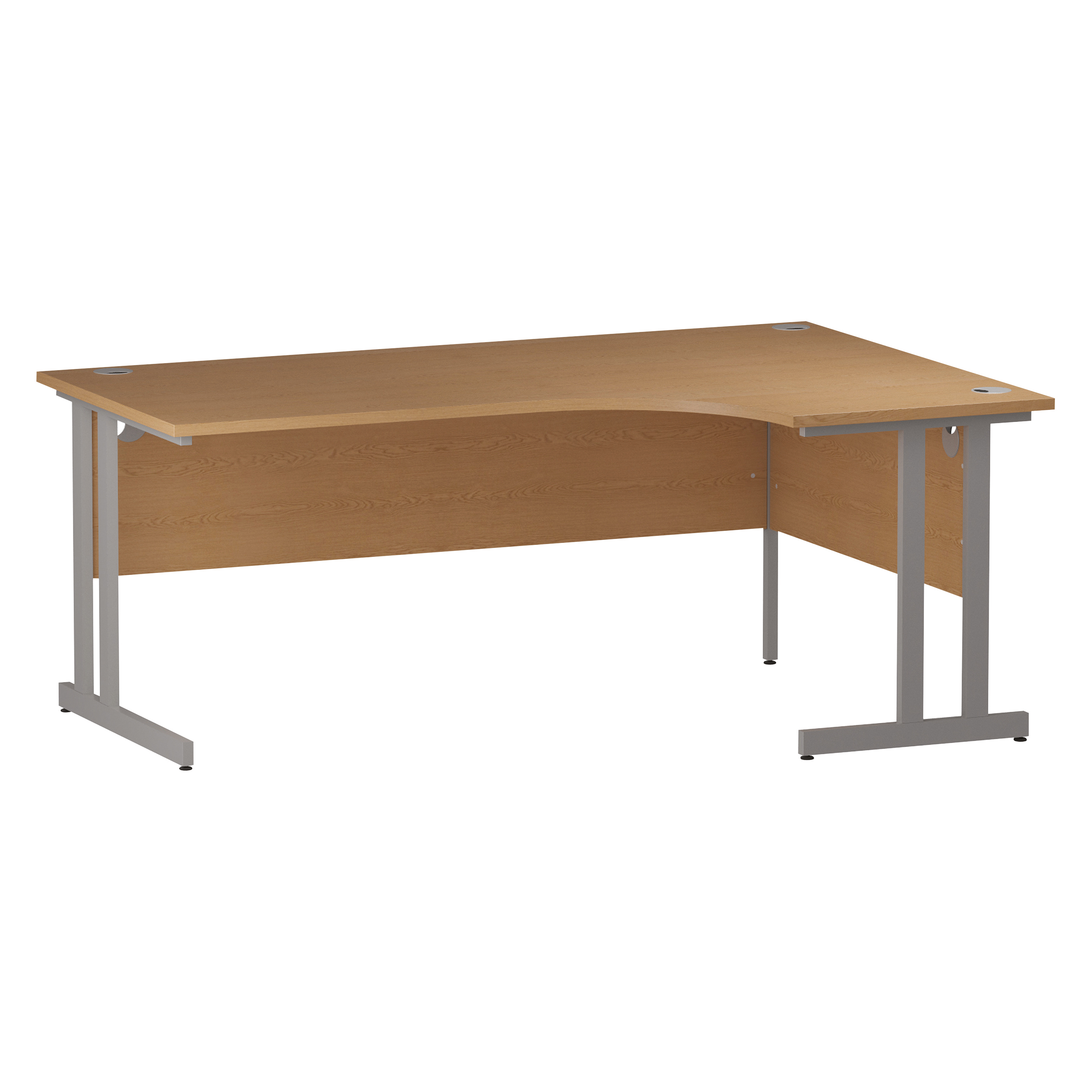 Trexus Radial Desk Right Hand Silver Cantilever Leg 1800mm Oak Ref I000825