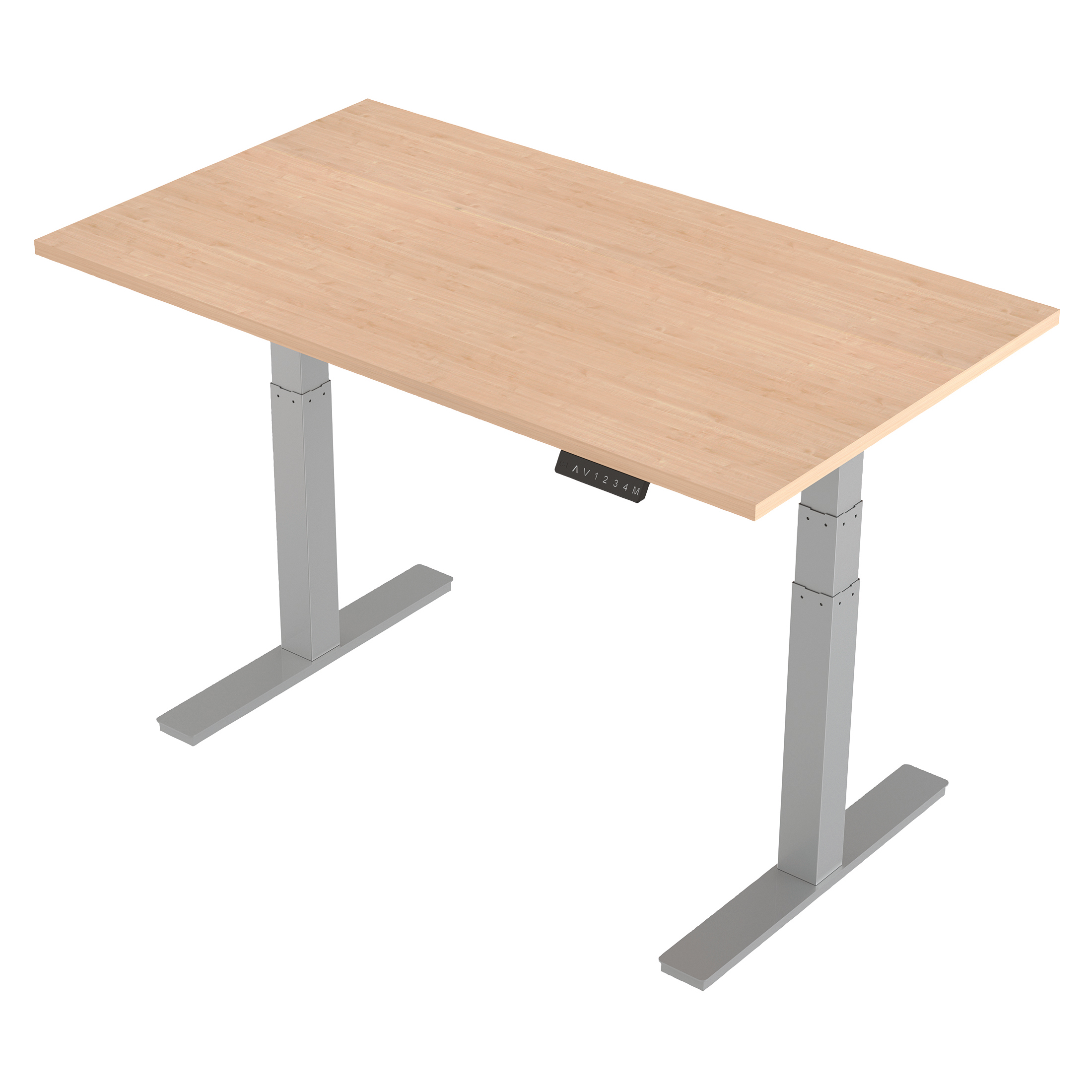 Trexus Sit-Stand Desk Height-adjustable Silver Leg Frame 1400/800mm Maple Ref HA01014