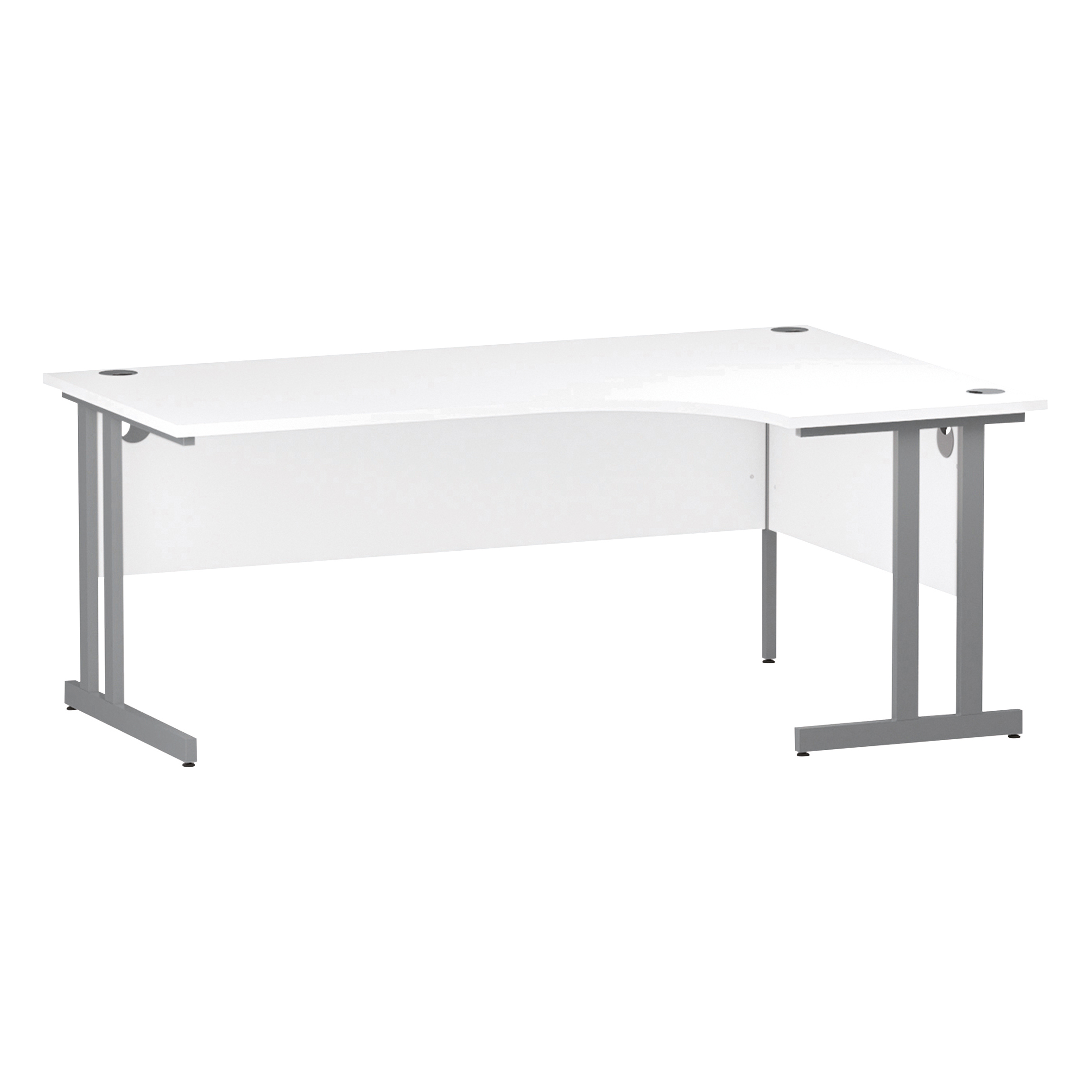 Trexus Radial Desk Right Hand Silver Cantilever Leg 1800mm White Ref I000324