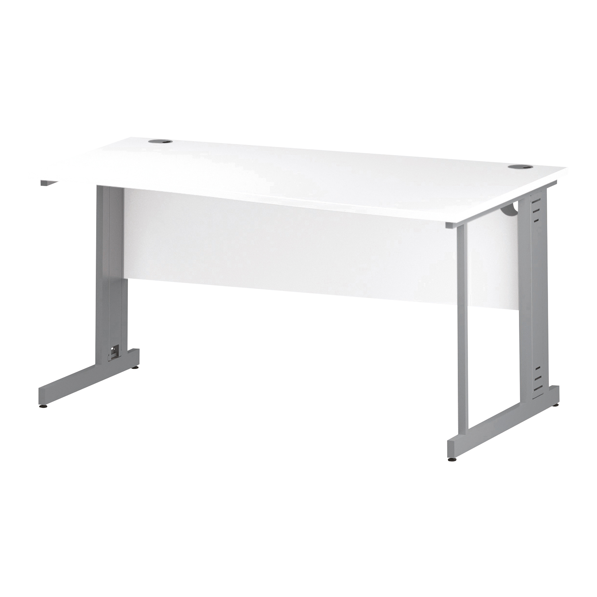 Trexus Wave Desk Right Hand Silver Cable Managed Leg 1600mm White Ref I000485