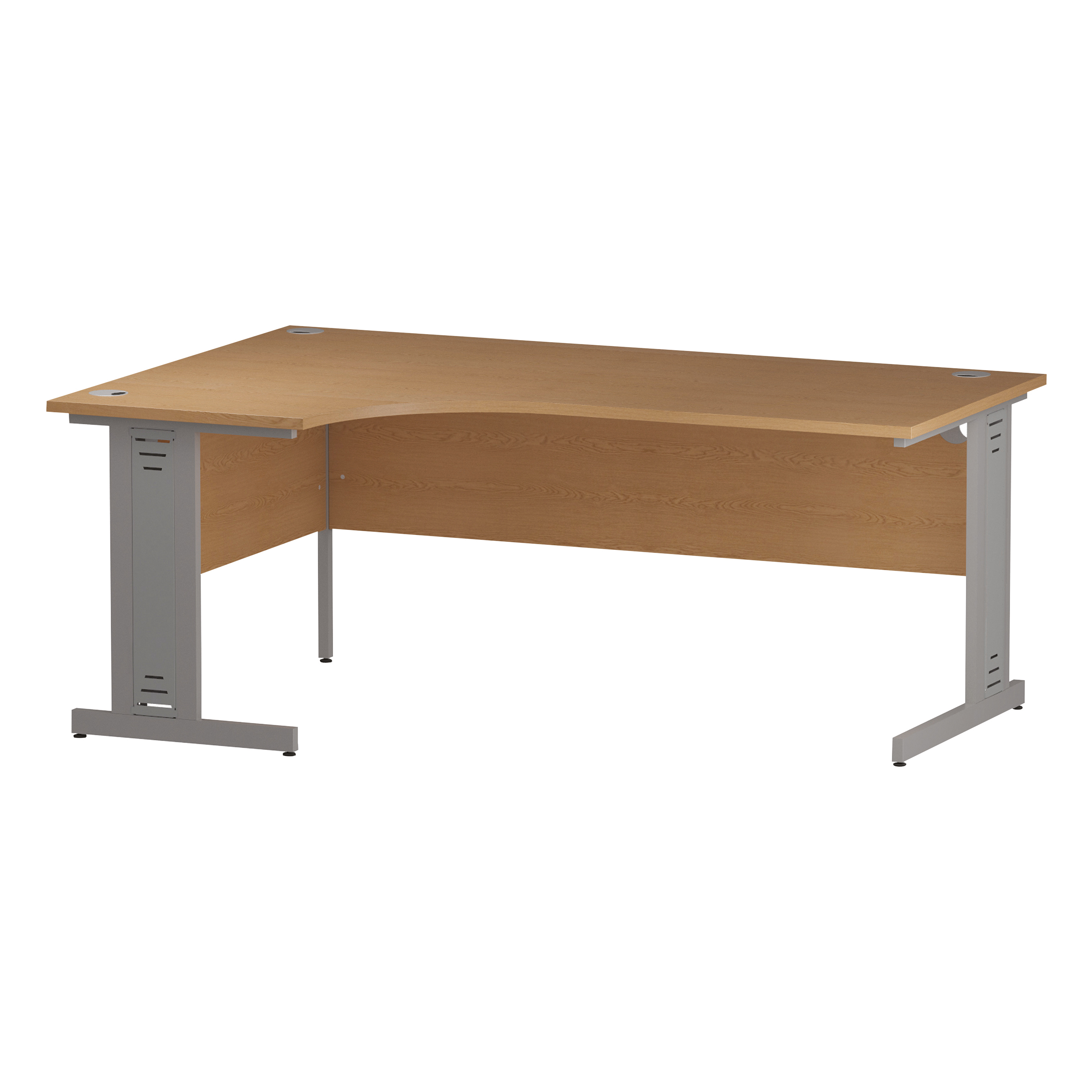 Trexus Radial Desk Left Hand Silver Cable Managed Leg 1800/1200mm Oak Ref I000865