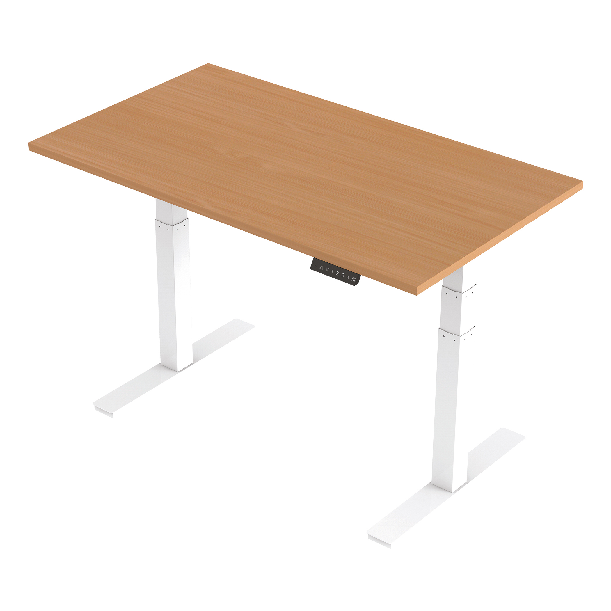 Trexus Sit Stand Desk Height-adjustable White Leg Frame 1400/800mm Beech Ref HA01022
