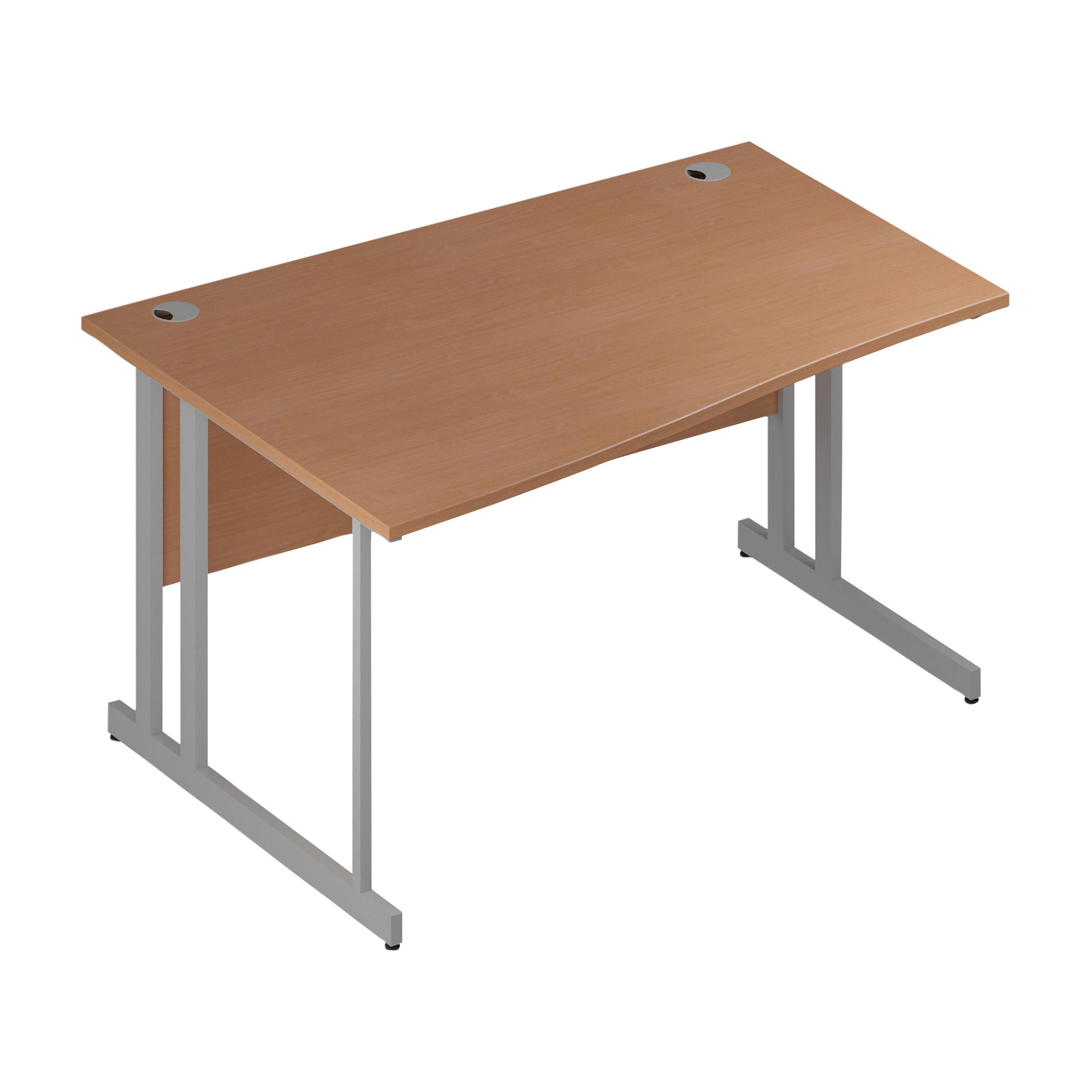 Trexus Wave Desk Left Hand Silver Cantilever Leg 1400mm Beech Ref I000287