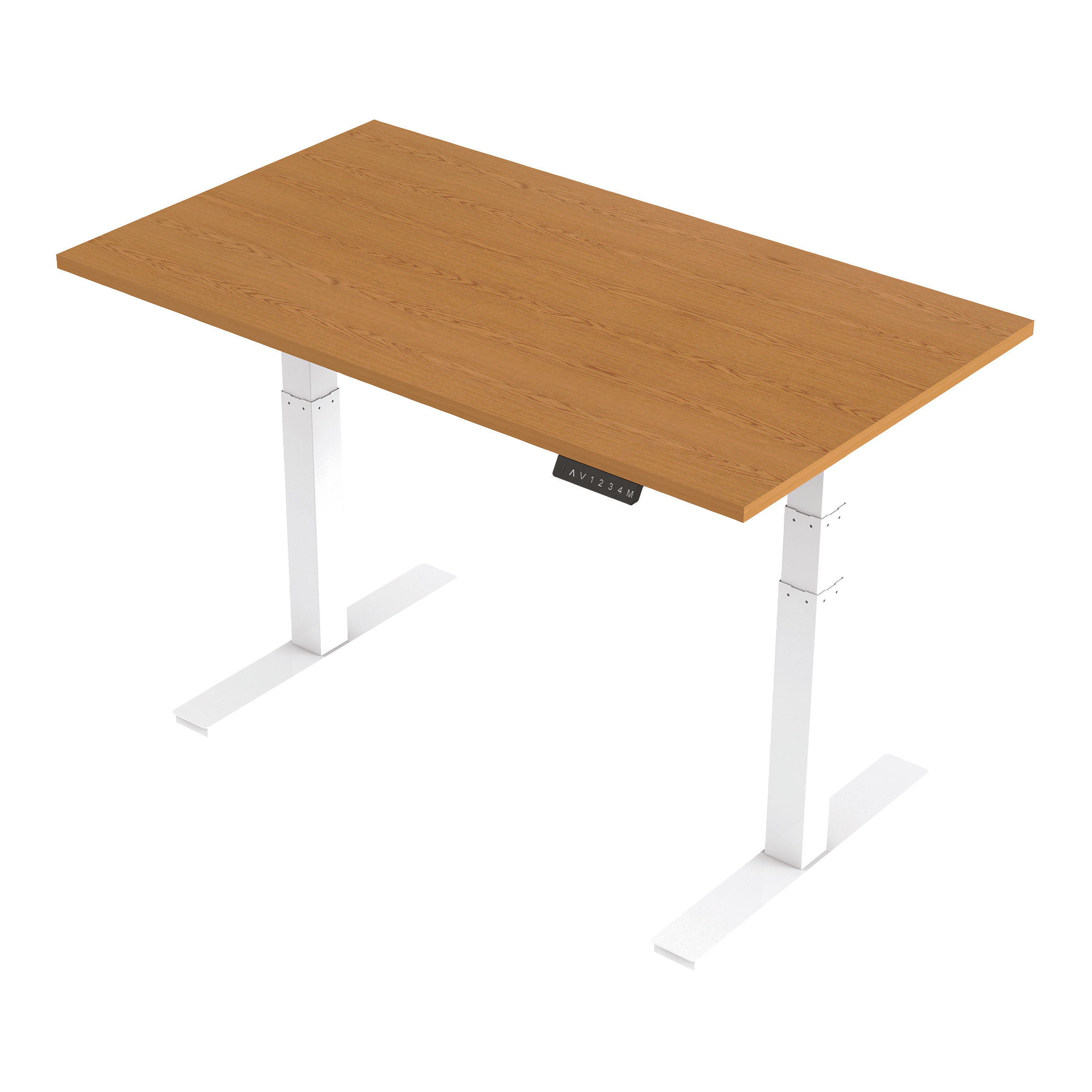 Trexus Sit Stand Desk Height-adjustable White Leg Frame 1400/800mm Oak Ref HA01038