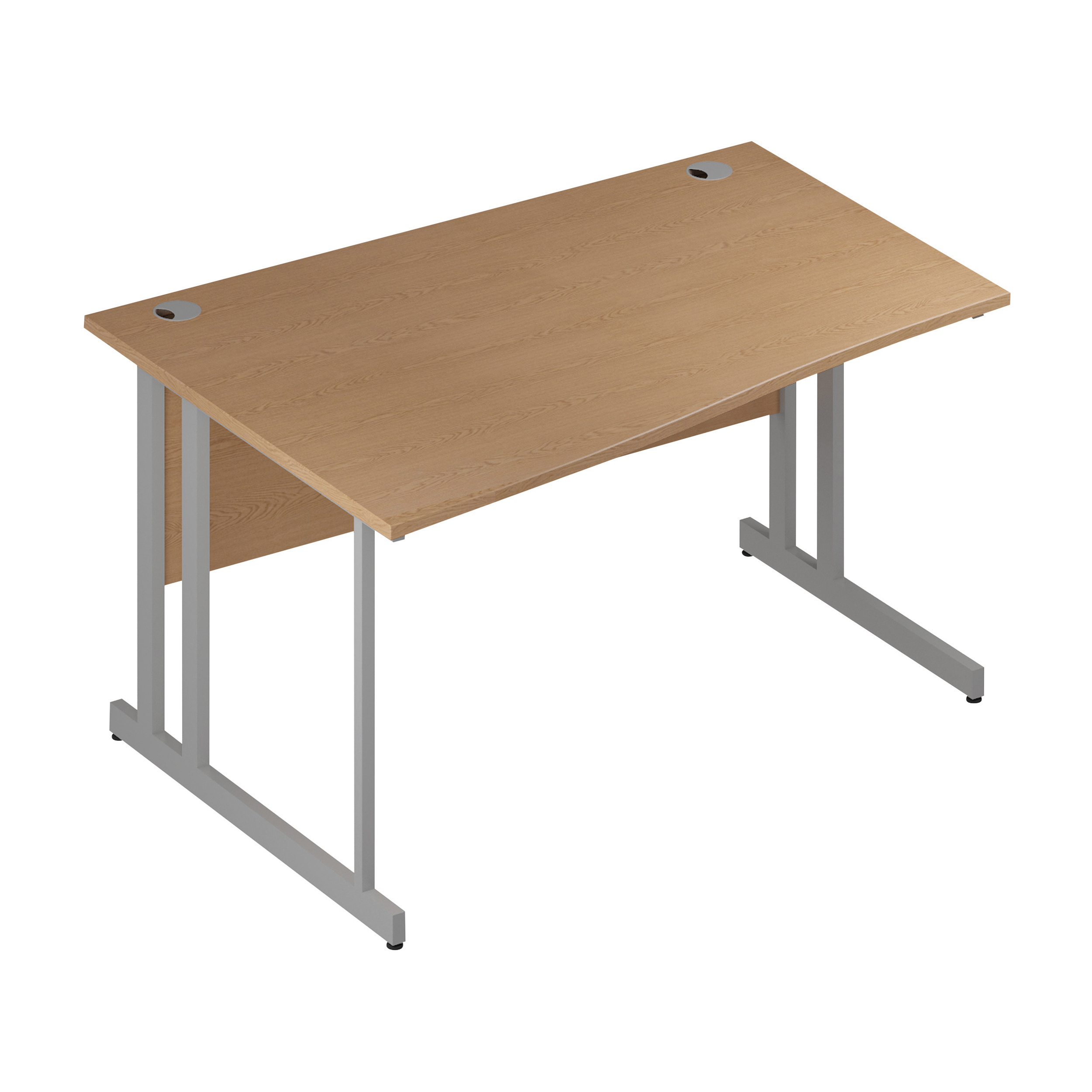 Trexus Wave Desk Left Hand Silver Cantilever Leg 1400mm Oak Ref I000810