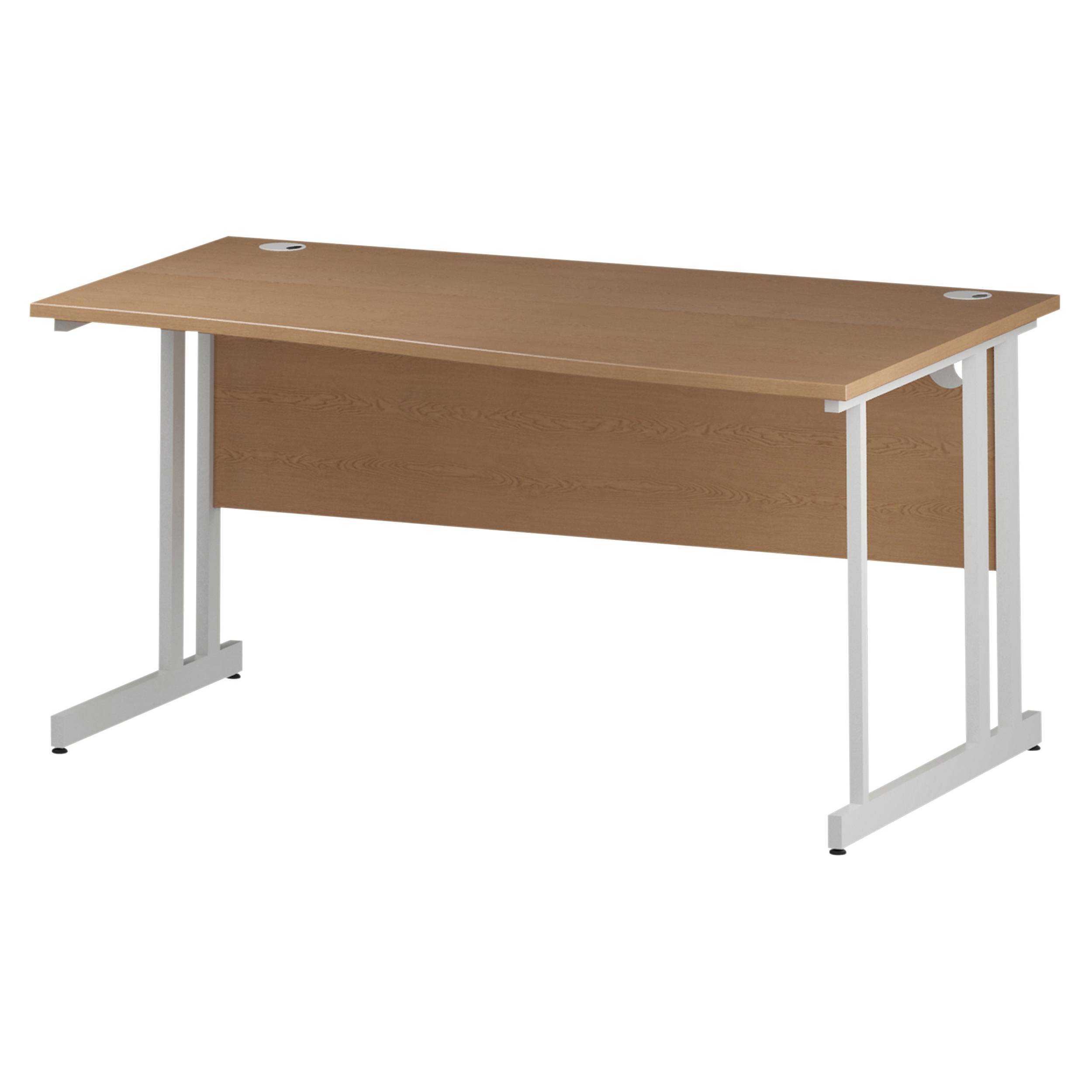 Trexus Wave Desk Right Hand White Cantilever Leg 1600mm Oak Ref I002796