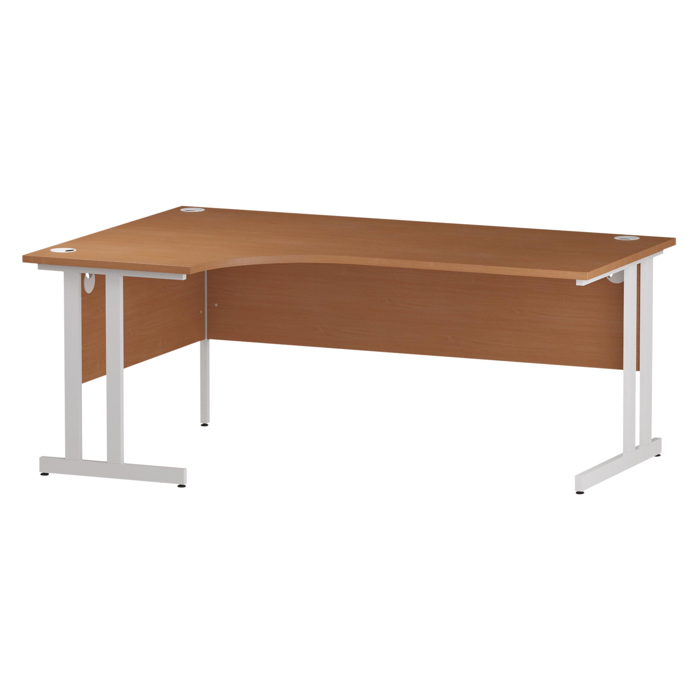 Trexus Radial Desk Left Hand White Cantilever Leg 1800mm Beech Ref I001877