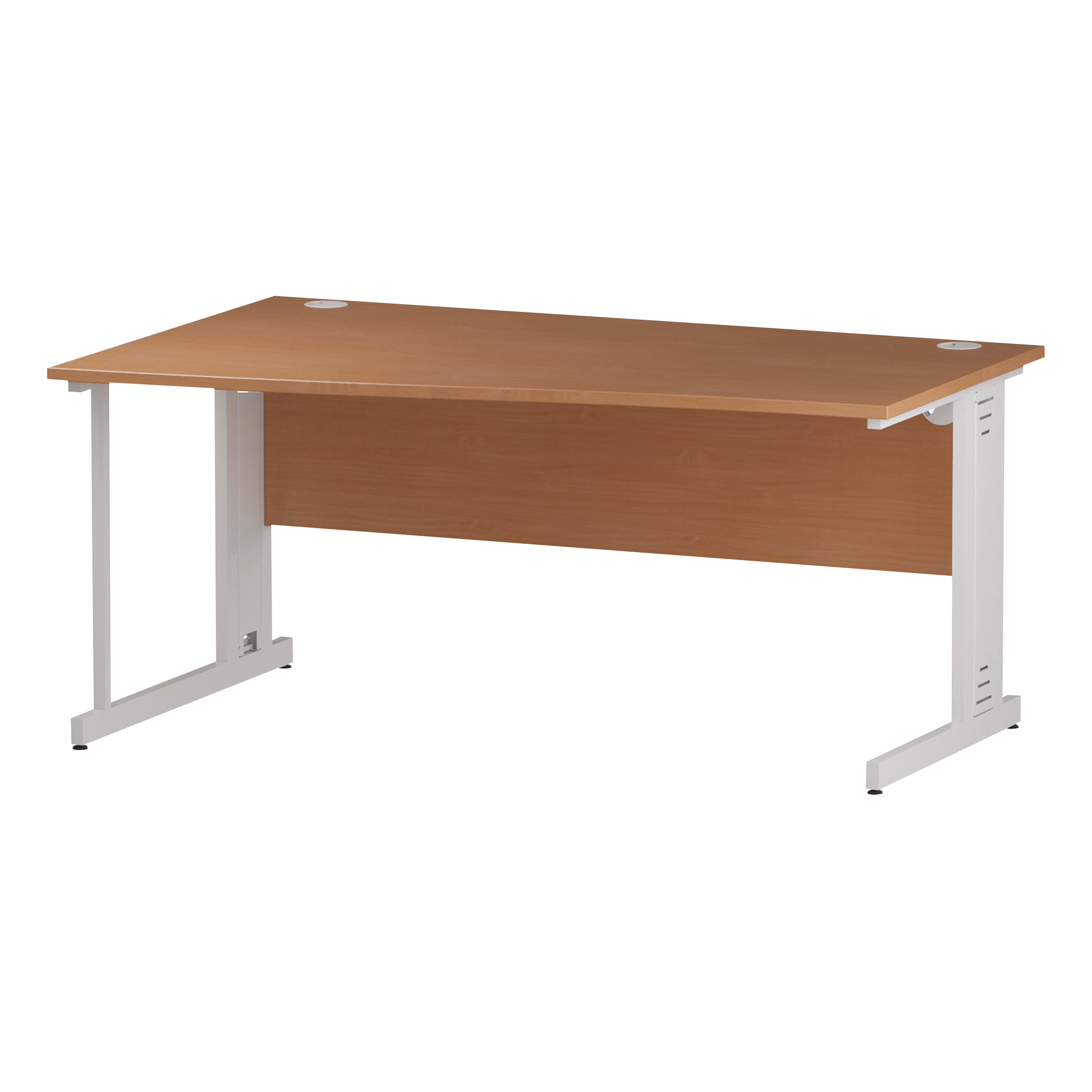 Trexus Wave Desk Left Hand White Cable Managed Leg 1600mm Beech Ref I001830