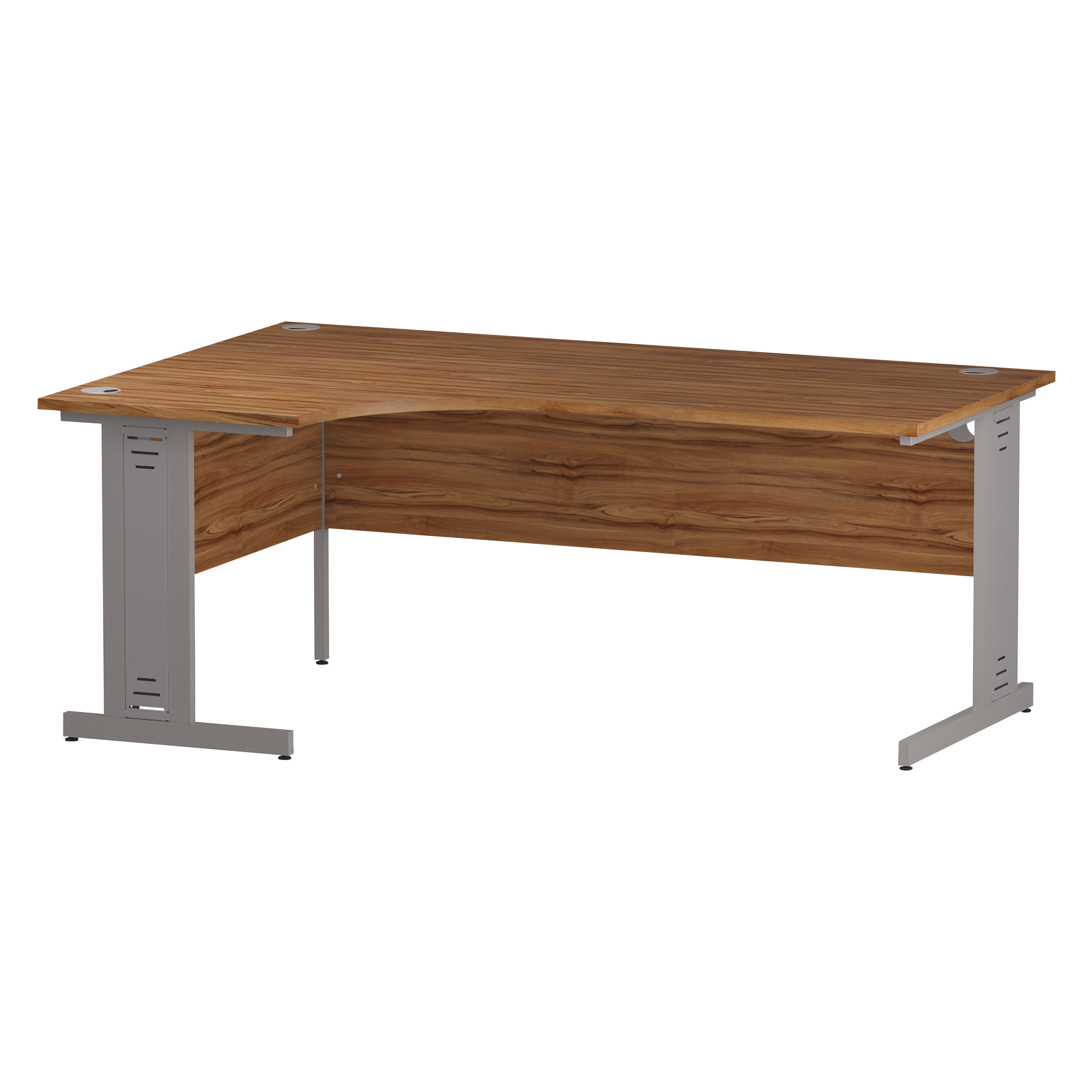 Trexus Radial Desk Left Hand Silver Cable Managed Leg 1800/1200mm Walnut Ref I002144
