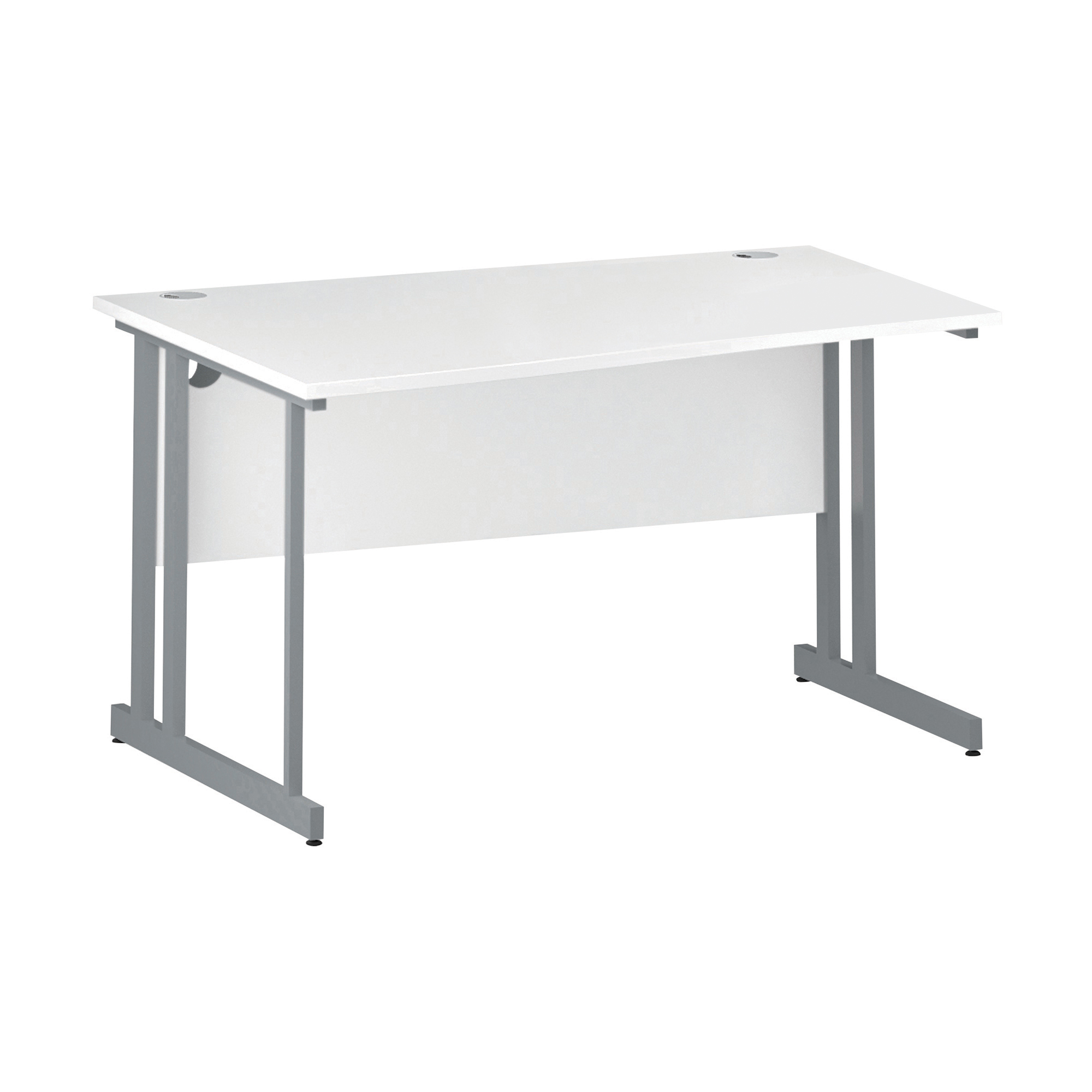 Trexus Wave Desk Left Hand Silver Cantilever Leg 1400mm White Ref I000309