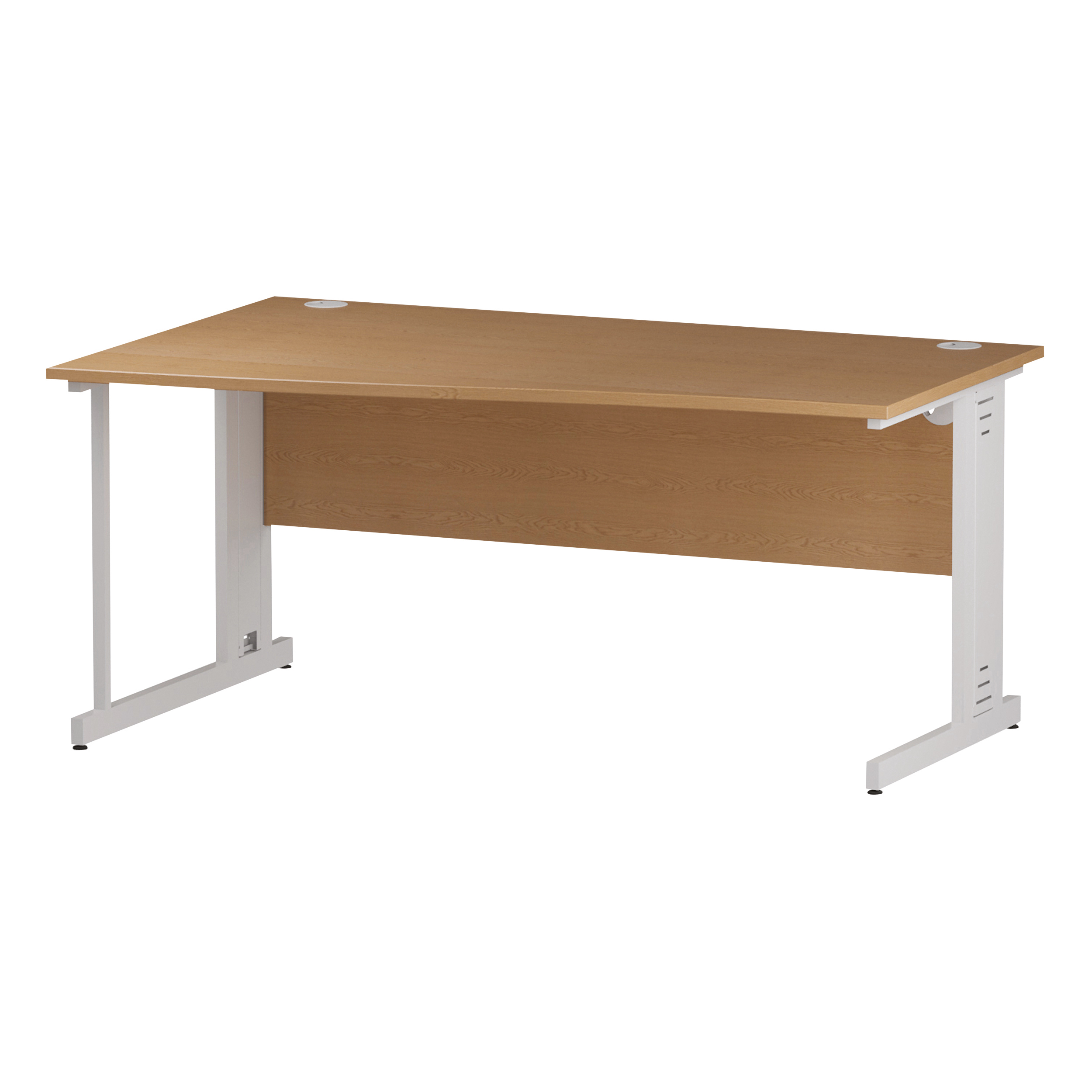Trexus Wave Desk Left Hand White Cable Managed Leg 1600mm Oak Ref I002799