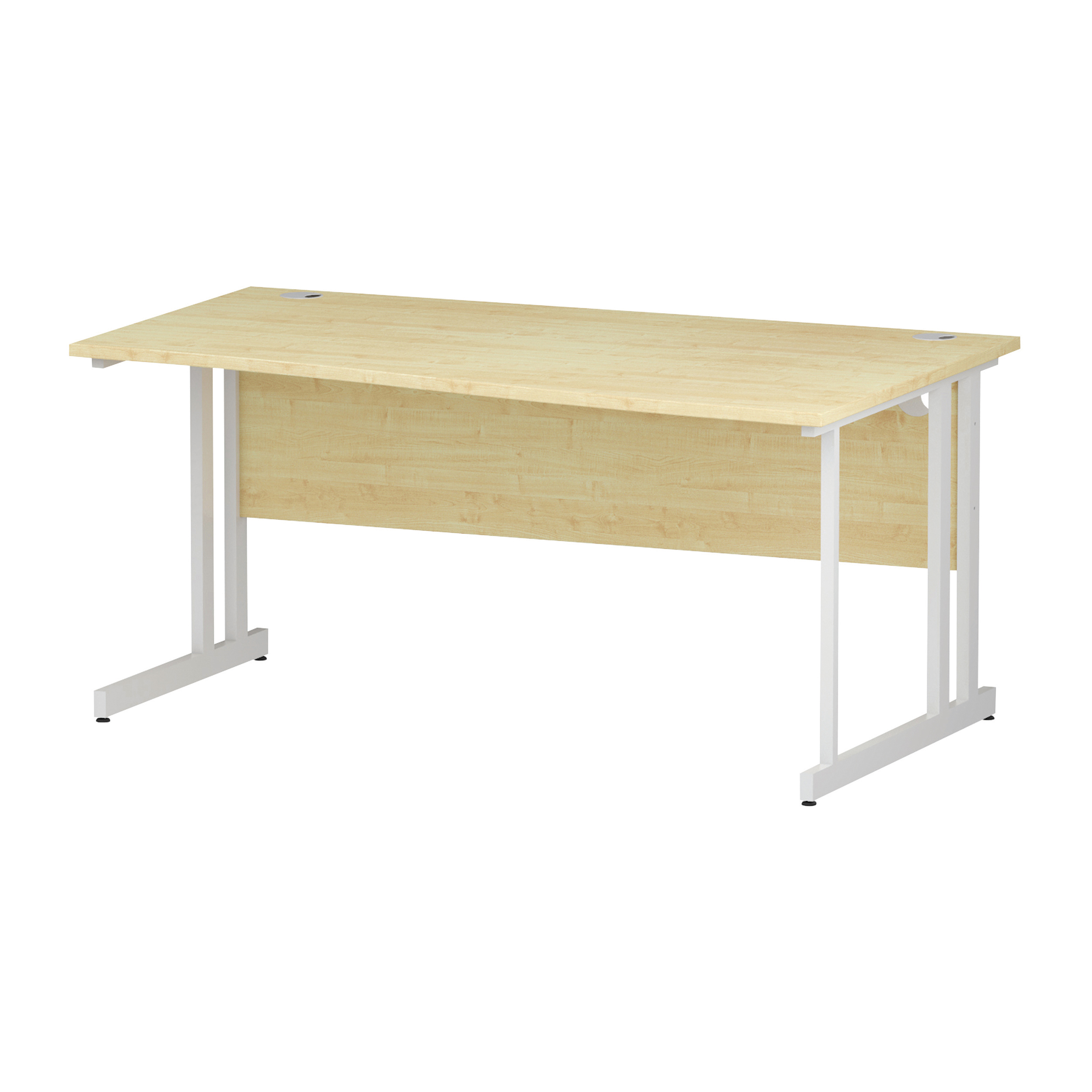 Trexus Wave Desk Right Hand White Cantilever Leg 1600mm Maple Ref I002570