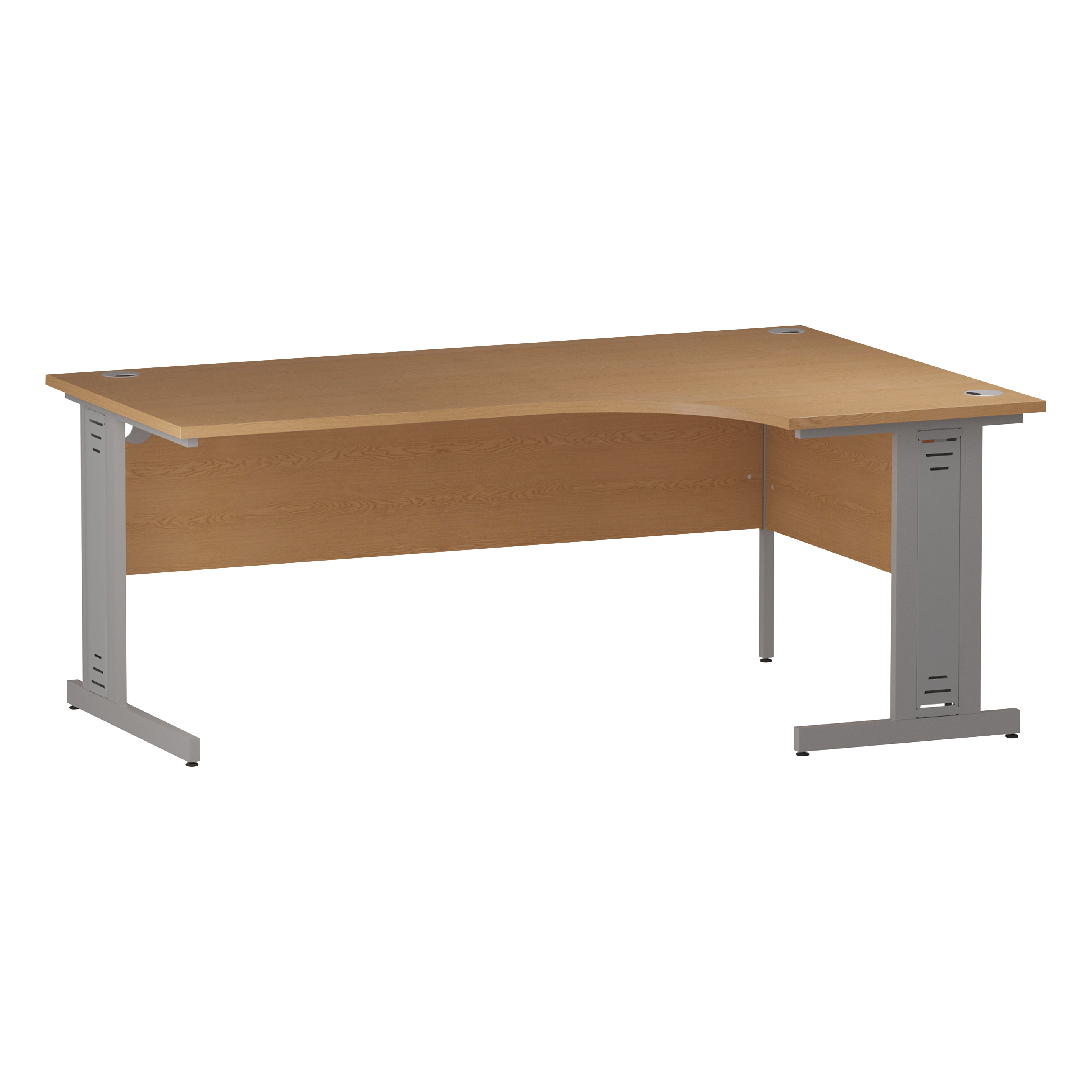 Trexus Radial Desk Right Hand Silver Cable Managed Leg 1800/1200mm Oak Ref I000866