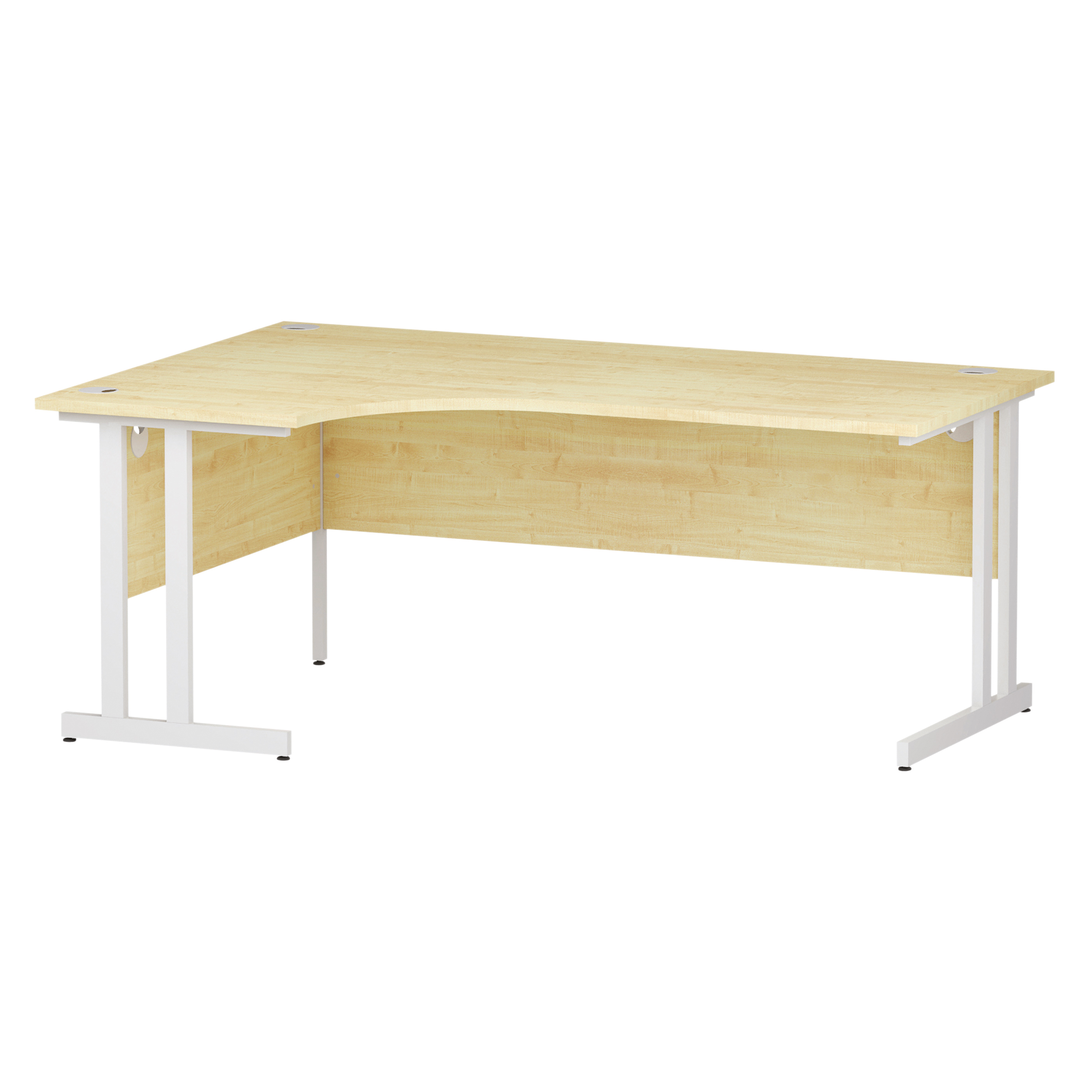 Trexus Radial Desk Left Hand White Cantilever Leg 1800mm Maple Ref I002620