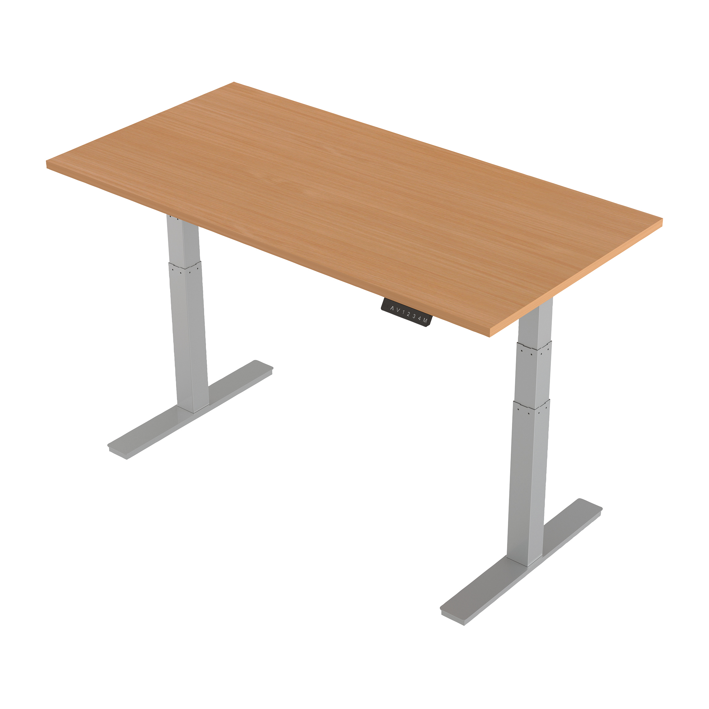 Trexus Sit-Stand Desk Height-adjustable Silver Leg Frame 1600/800mm Beech Ref HA01003