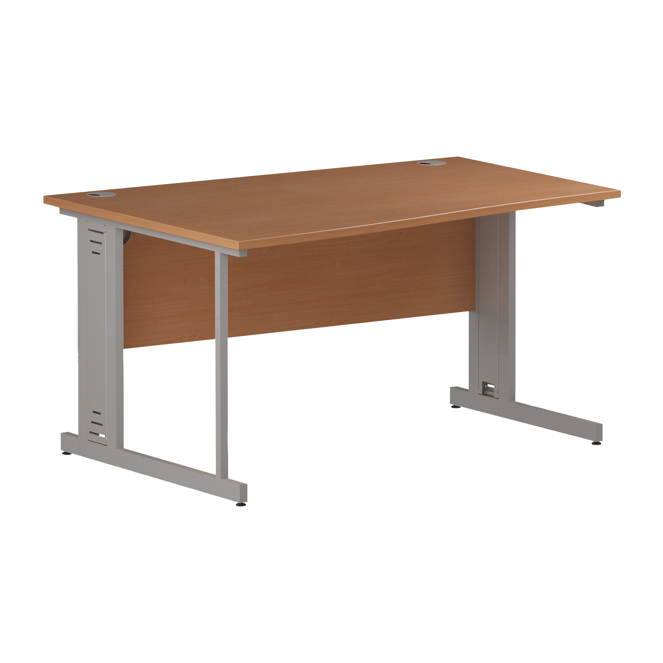 Trexus Wave Desk Left Hand Silver Cable Managed Leg 1400mm Beech Ref I000463