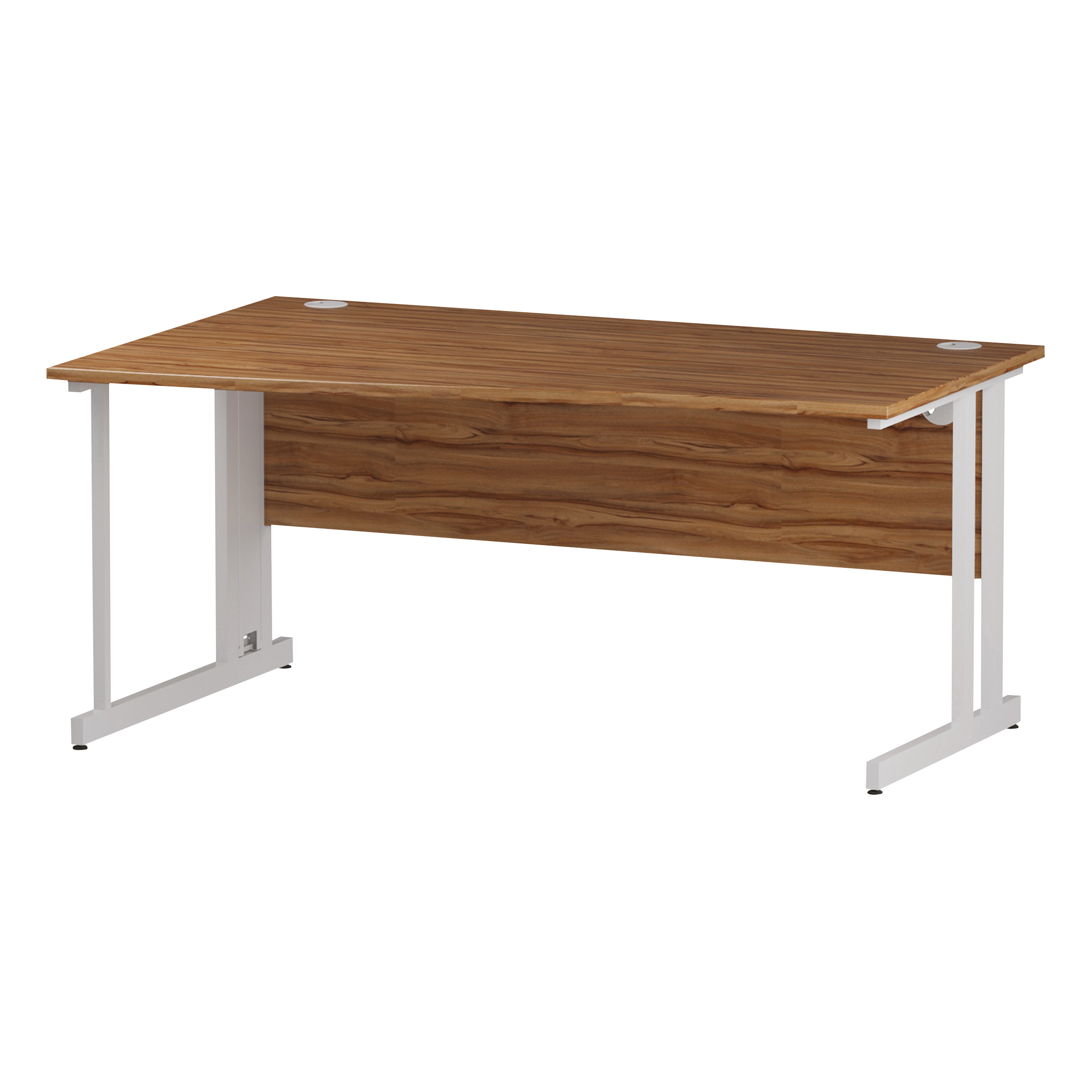 Trexus Wave Desk Left Hand White Cable Managed Leg 1600mm Walnut Ref I002083