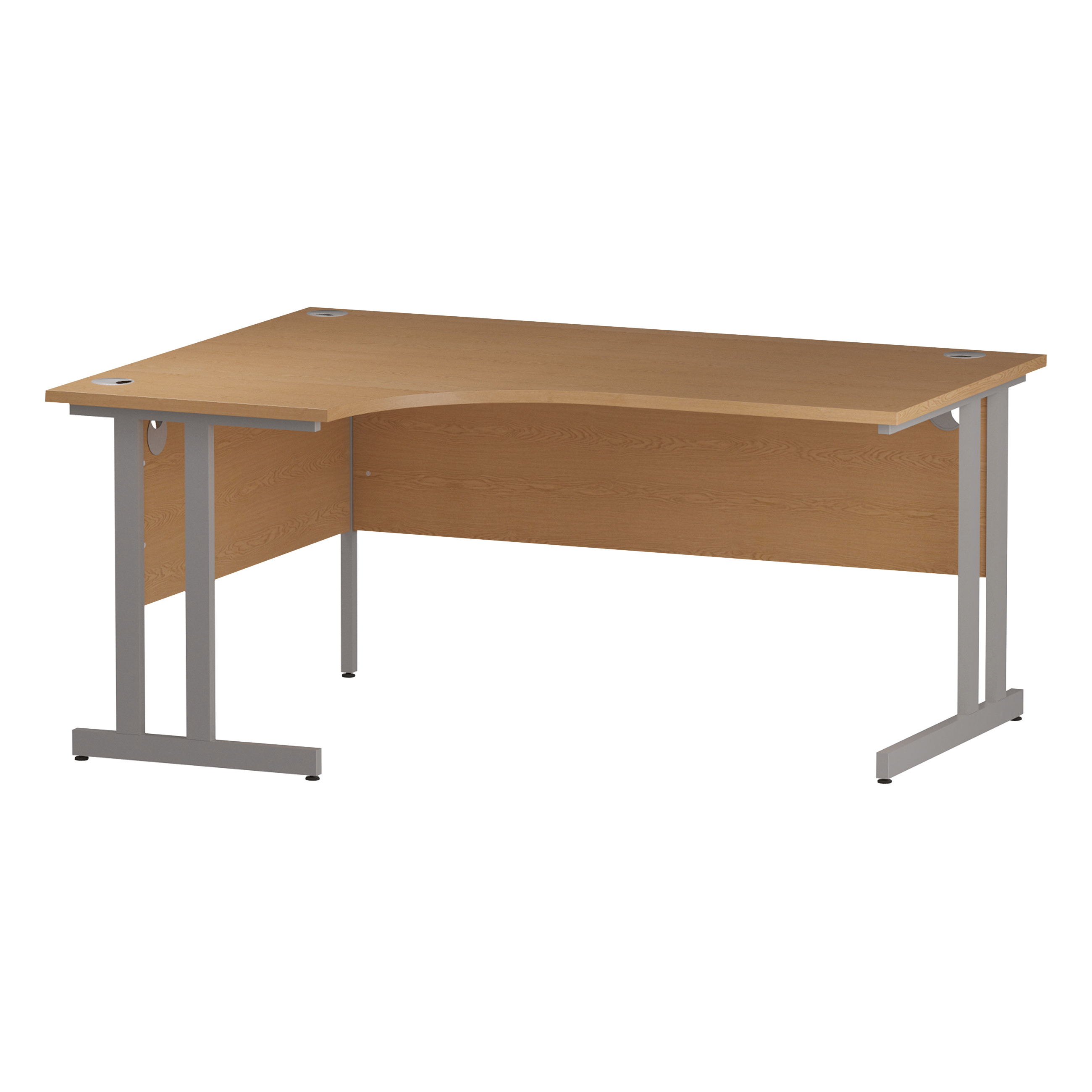 Trexus Radial Desk Left Hand Silver Cantilever Leg 1600mm Oak Ref I000822