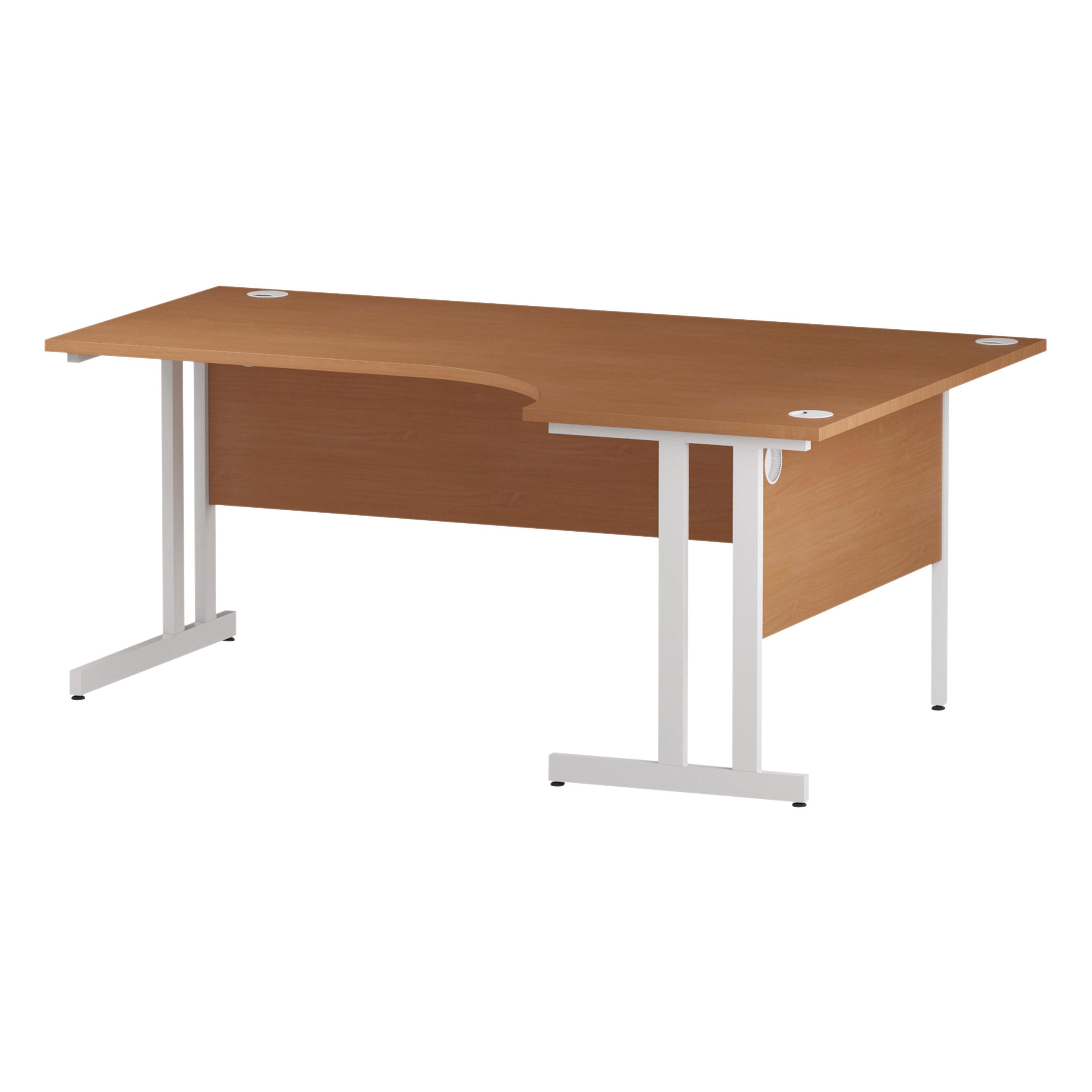 Trexus Radial Desk Right Hand White Cantilever Leg 1800mm Beech Ref I001878