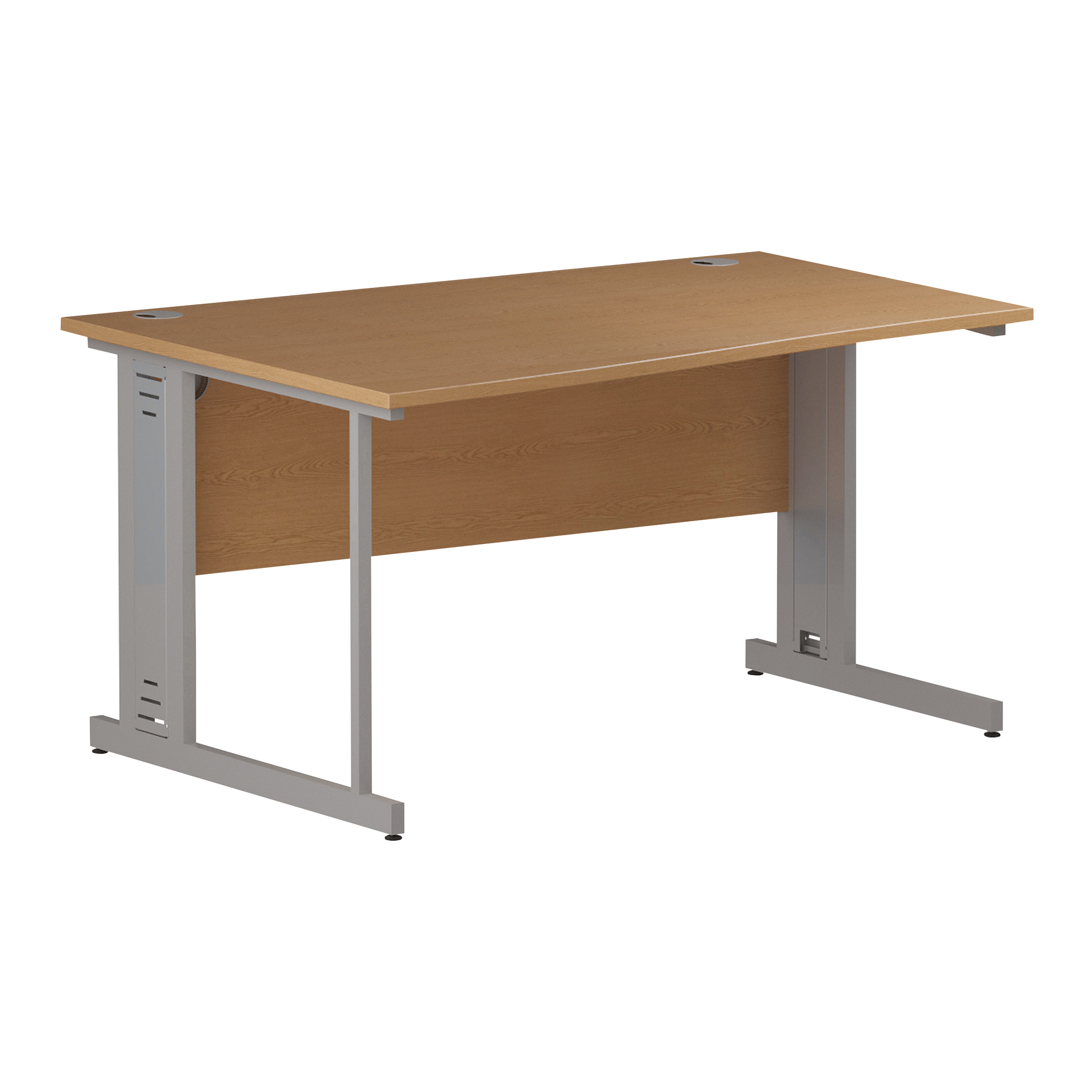 Trexus Wave Desk Left Hand Silver Cable Managed Leg 1400mm Oak Ref I000854