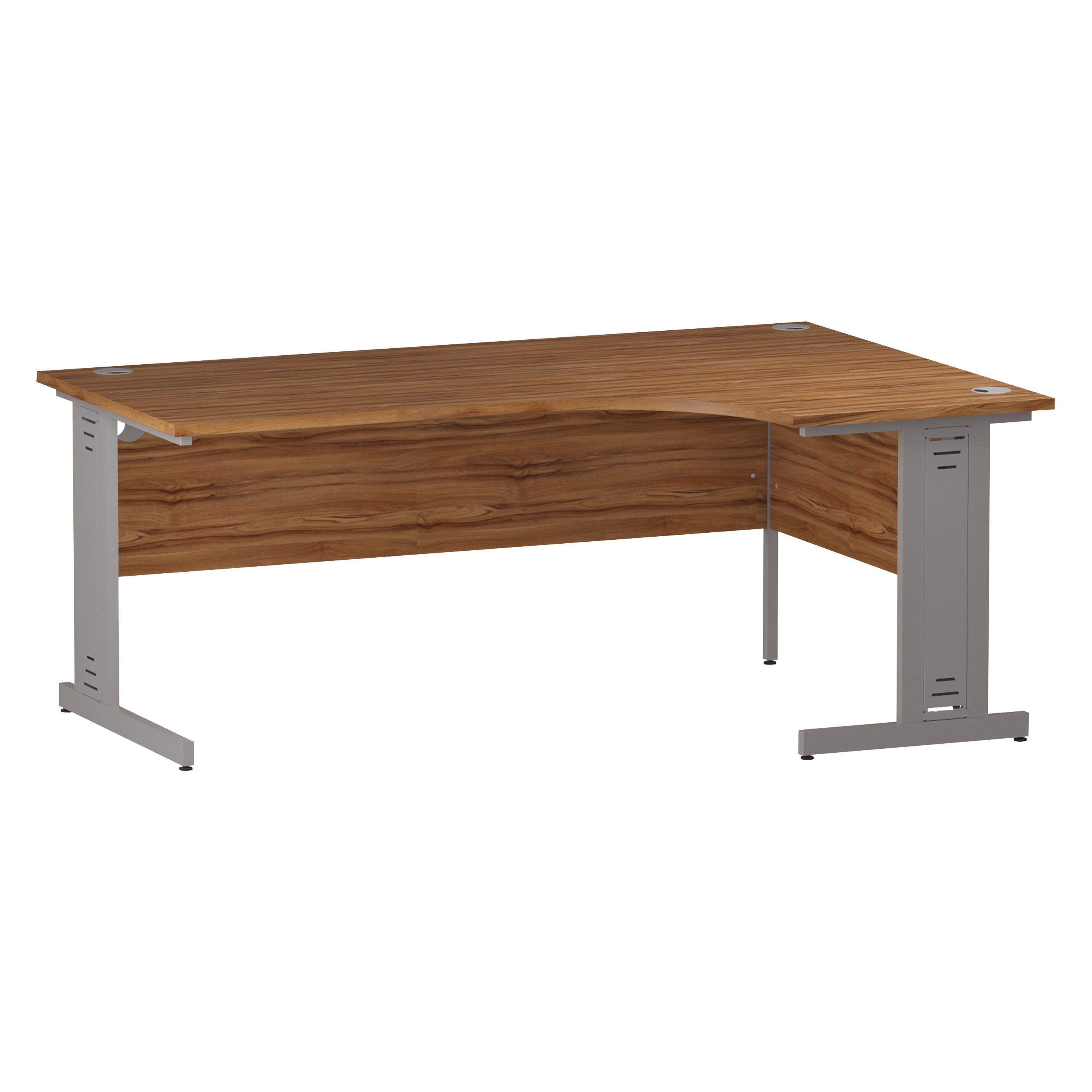 Trexus Radial Desk Right Hand Silver Cable Managed Leg 1800/1200mm Walnut Ref I002145