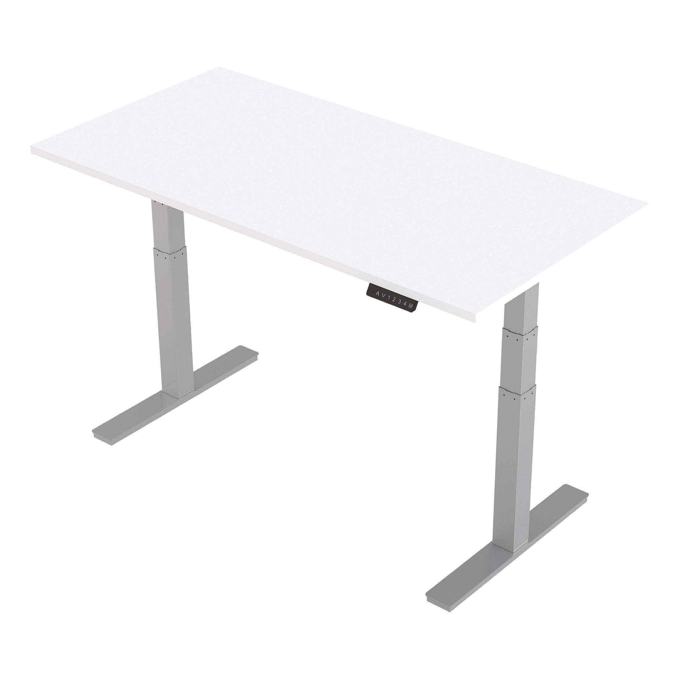 Trexus Sit-Stand Desk Height-adjustable Silver Leg Frame 1600/800mm White Ref HA01011