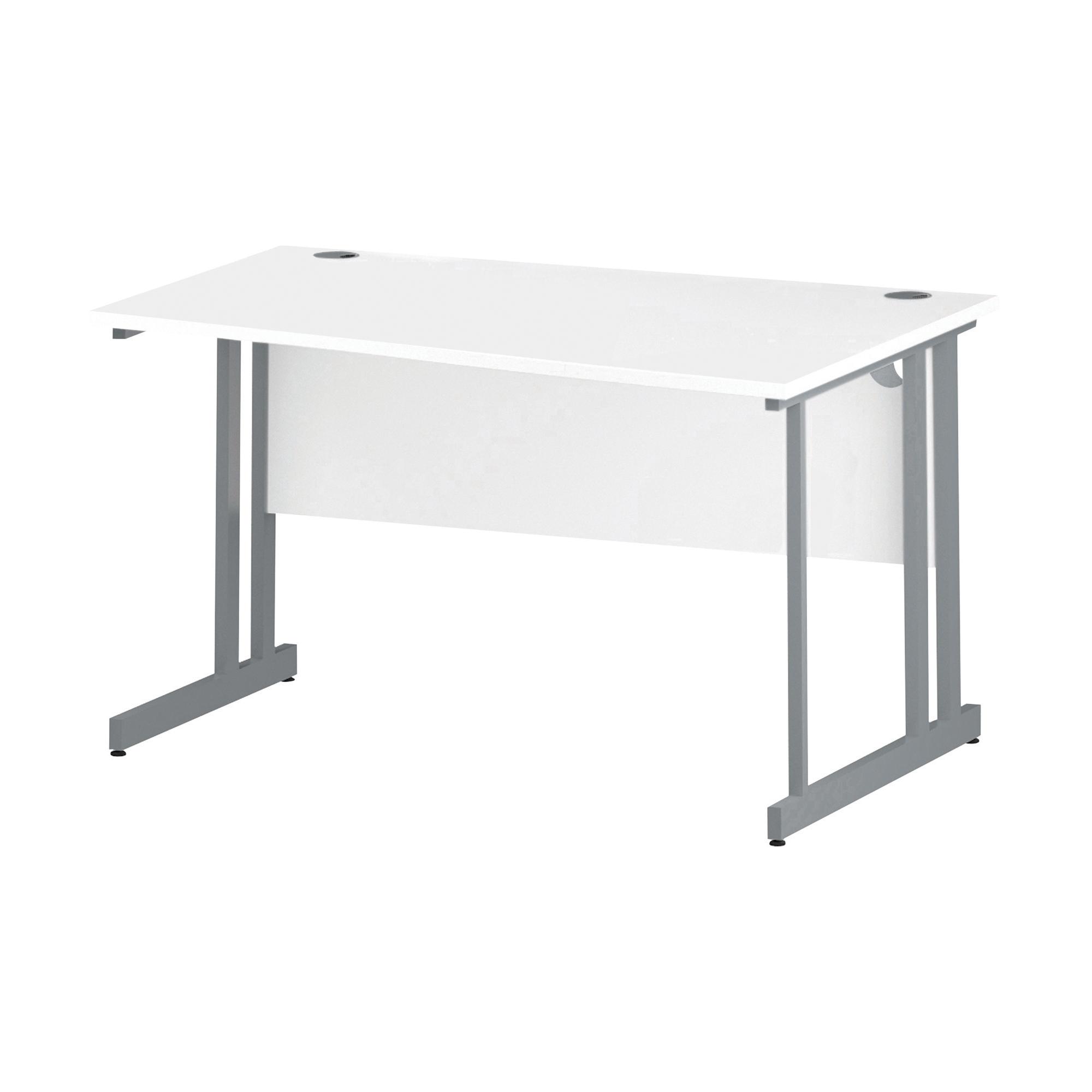 Trexus Wave Desk Right Hand Silver Cantilever Leg 1400mm White Ref I000310