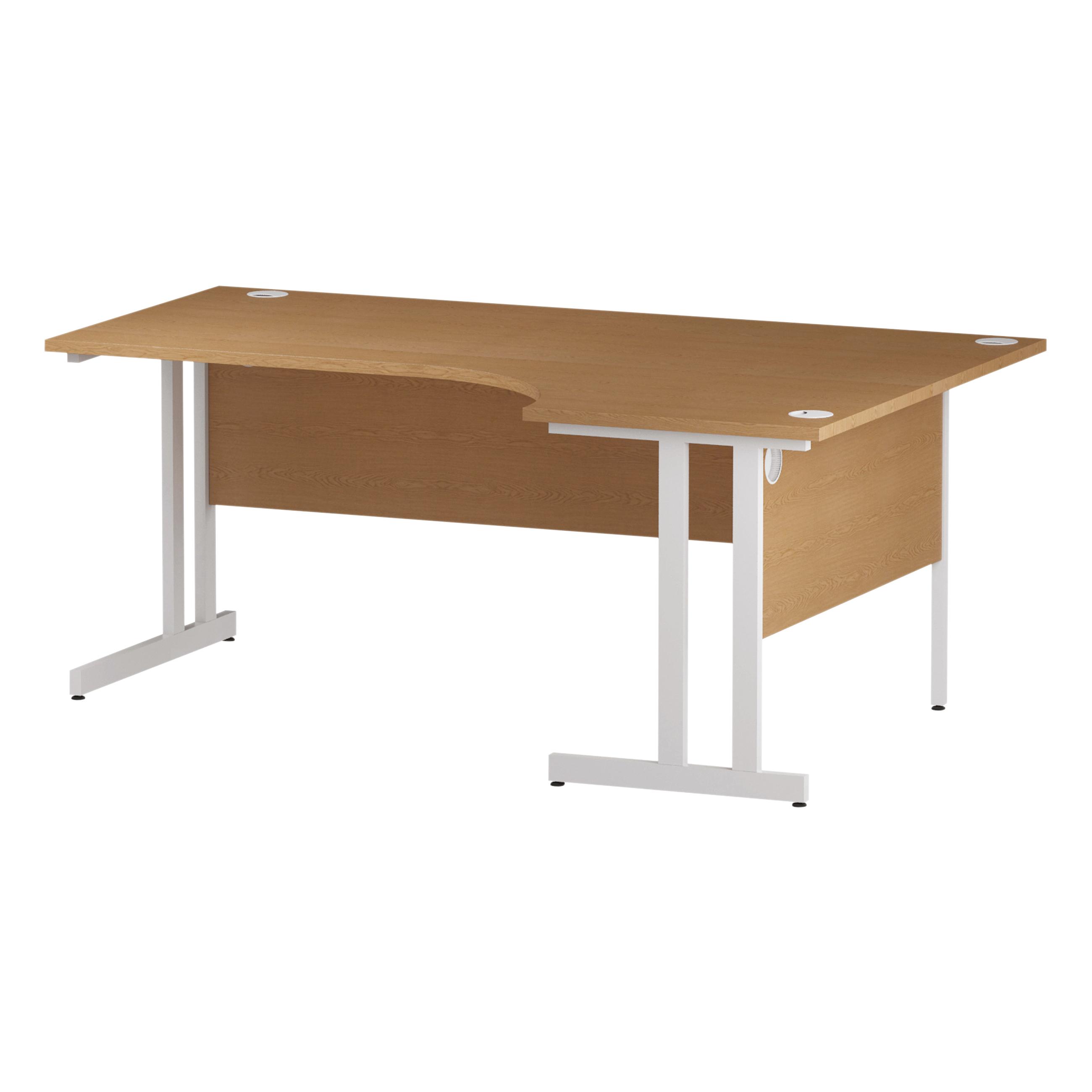 Trexus Radial Desk Right Hand White Cantilever Leg 1800mm Oak Ref I002847