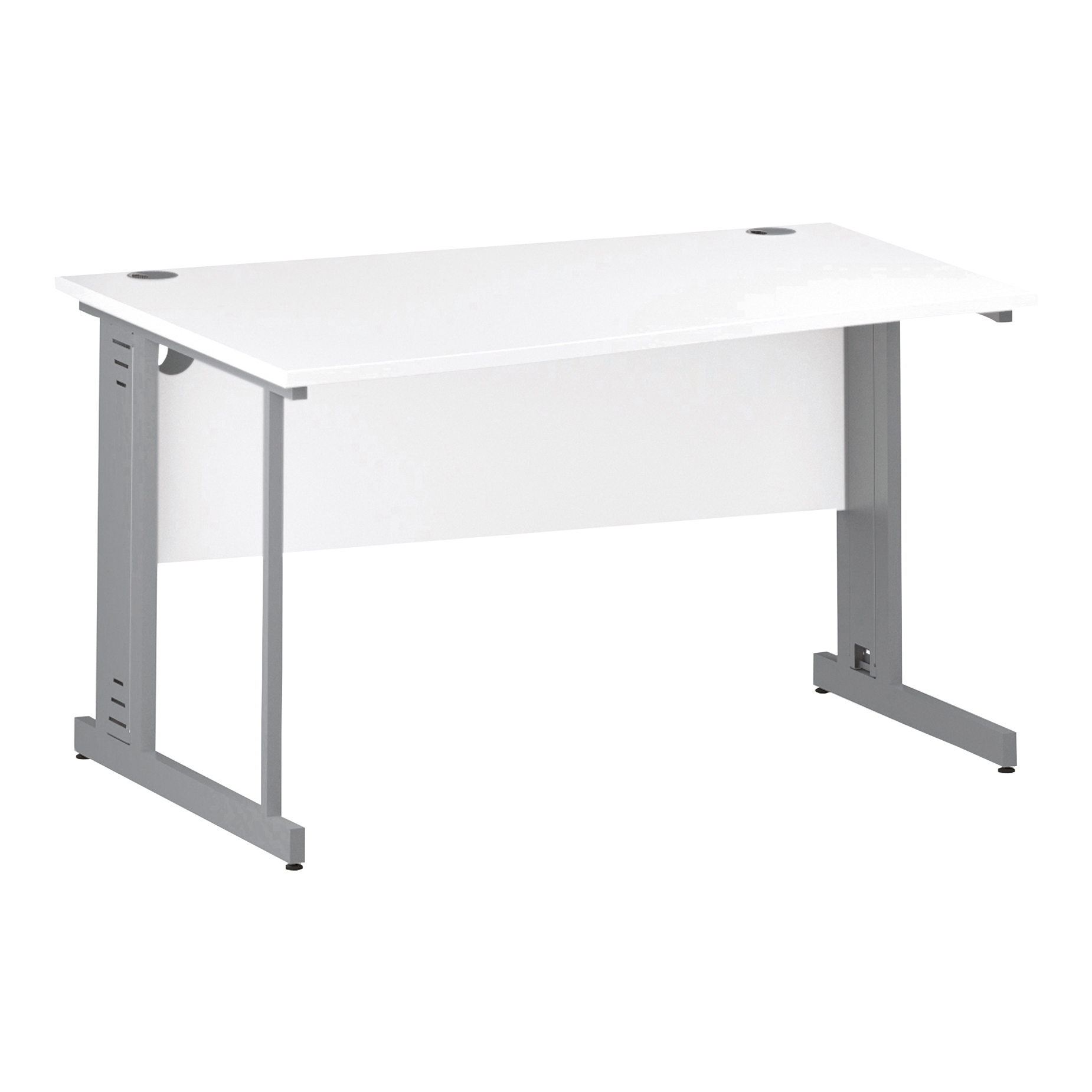 Trexus Wave Desk Left Hand Silver Cable Managed Leg 1400mm White Ref I000482