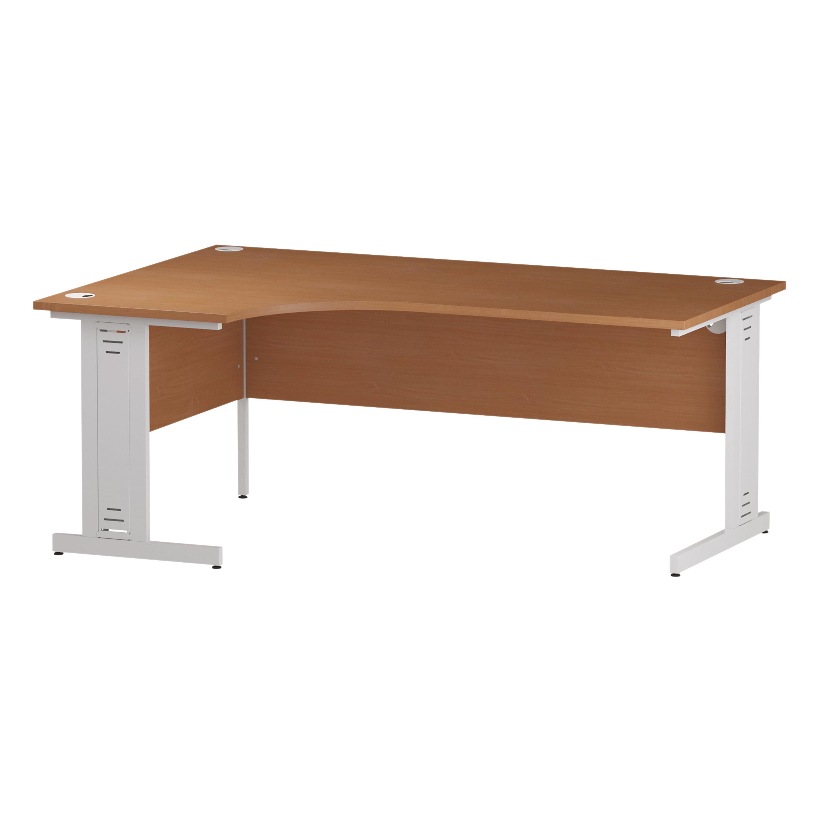 Trexus Radial Desk Left Hand White Cable Managed Leg 1800/1200mm Beech Ref I001881