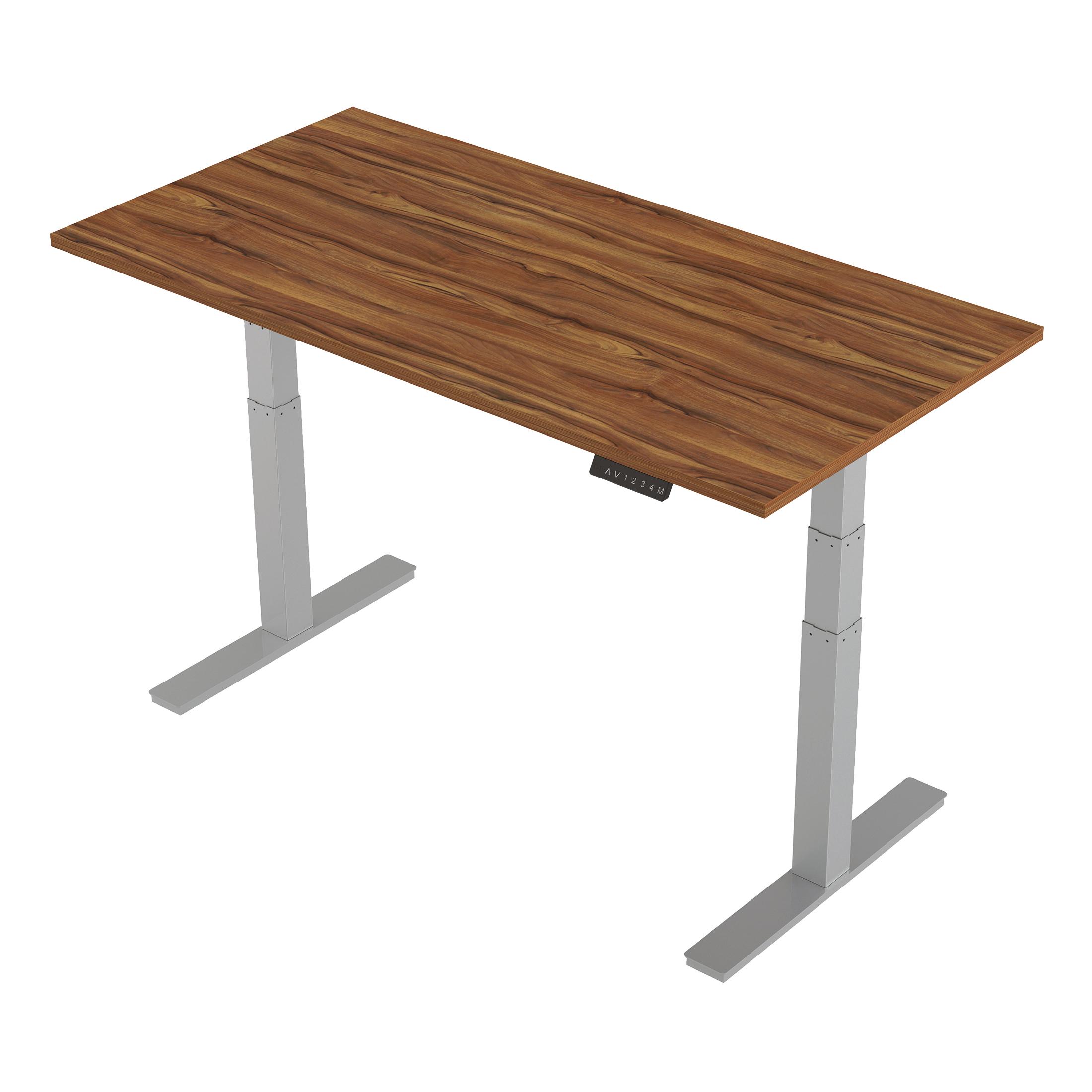 Trexus Sit-Stand Desk Height-adjustable Silver Leg Frame 1600/800mm Walnut Ref HA01007